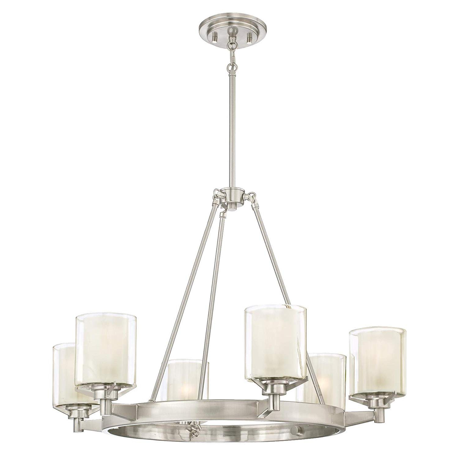 Westinghouse Lighting 6330700 Glenford Six Light Indoor Chandelier, Brushed  Nickel Finish With Frosted Inner And Clear Glass Outer Shades, 6 Pertaining To Newest Lyon 3 Light Unique / Statement Chandeliers (View 25 of 25)