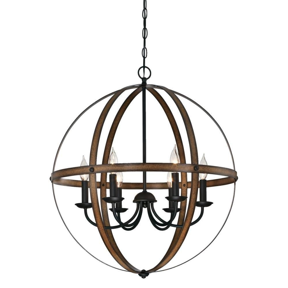 Westinghouse Stella Mira 6 Light Barnwood And Oil Rubbed In Fashionable Alden 6 Light Globe Chandeliers (View 6 of 25)
