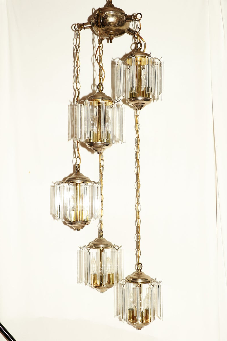 Widely Used 100 Dollars Off! Vintage Sputnik Cascade Lucite Prism Ceiling Light Is Stunning, Free Shipping In Continental U.s (View 24 of 25)