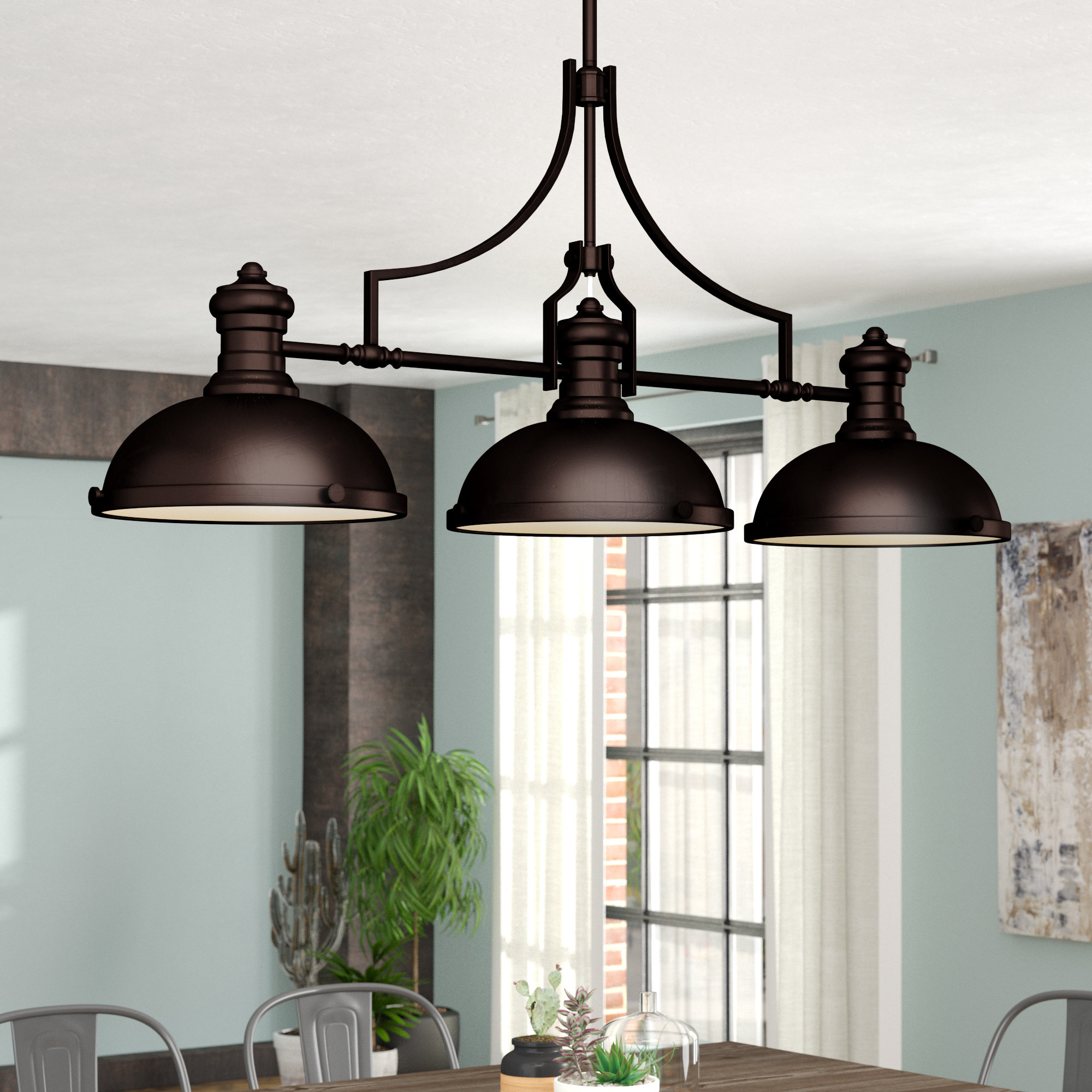 Widely Used Ariel 3 Light Kitchen Island Dome Pendants Intended For Trent Austin Design Fredela 3 Light Kitchen Island Pendant (View 25 of 25)