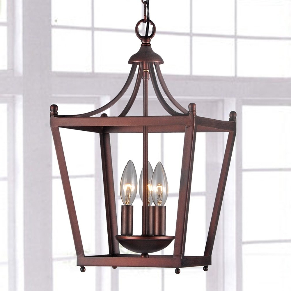 Widely Used Bataan Iron Pagoda 3 Light Lantern Pendant Throughout Leiters 3 Light Lantern Geometric Pendants (View 9 of 25)