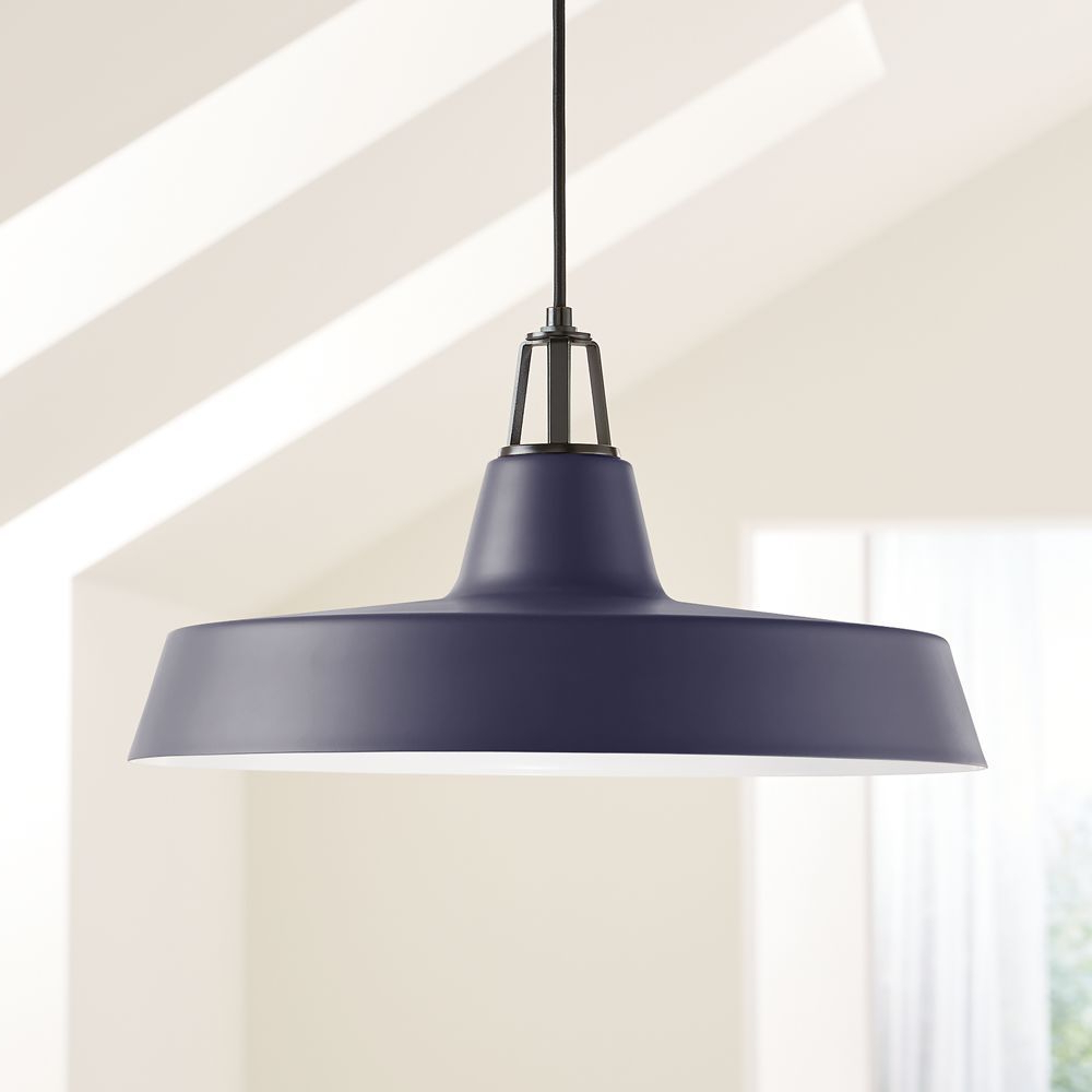Widely Used Conover 1 Light Dome Pendants Pertaining To Maddox Navy Farmhouse Pendant Large With Black Socket In (View 24 of 25)