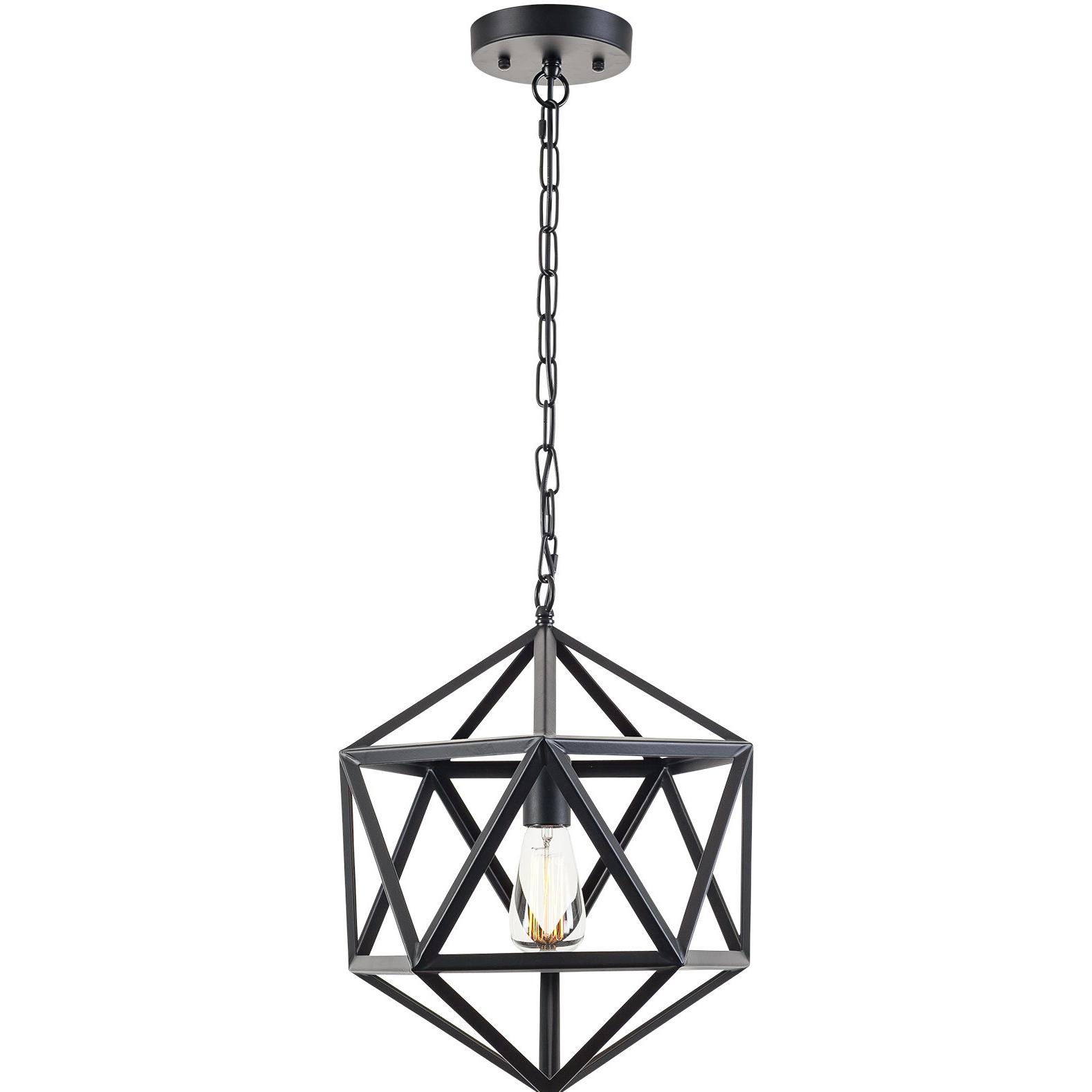 Widely Used Delon 1 Light Lantern Geometric Pendants Within 1 Light Lantern Geometric Pendant (View 6 of 25)