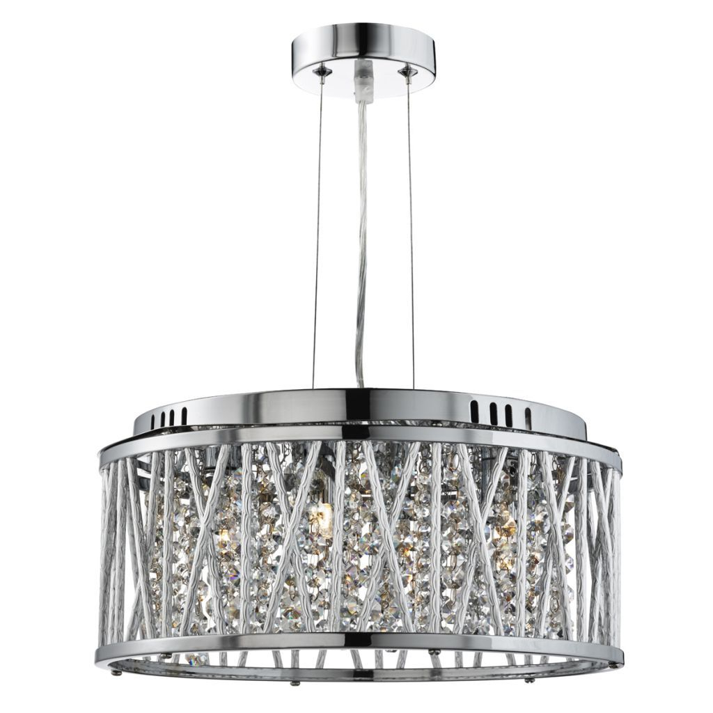 Widely Used Elise Chrome 4 Light Fitting With Crystal Button Drops Within Sinead 4 Light Chandeliers (View 24 of 25)