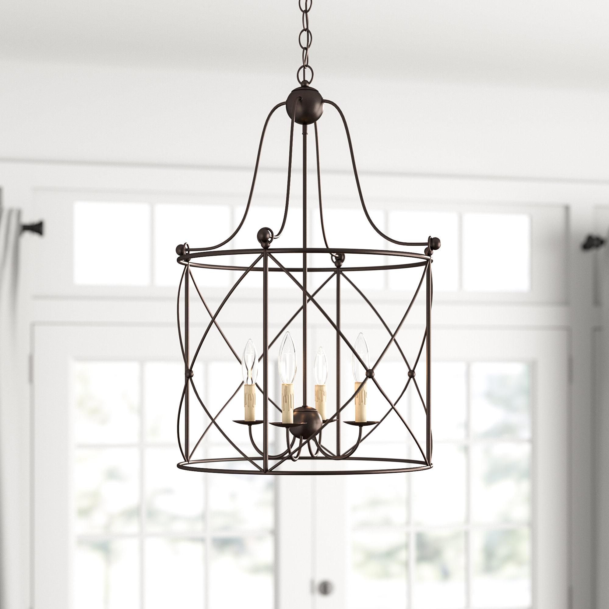 Widely Used Gracie Oaks Aniyah 4 Light Lantern Geometric Pendant Regarding Freeburg 4 Light Lantern Square / Rectangle Pendants (View 15 of 25)