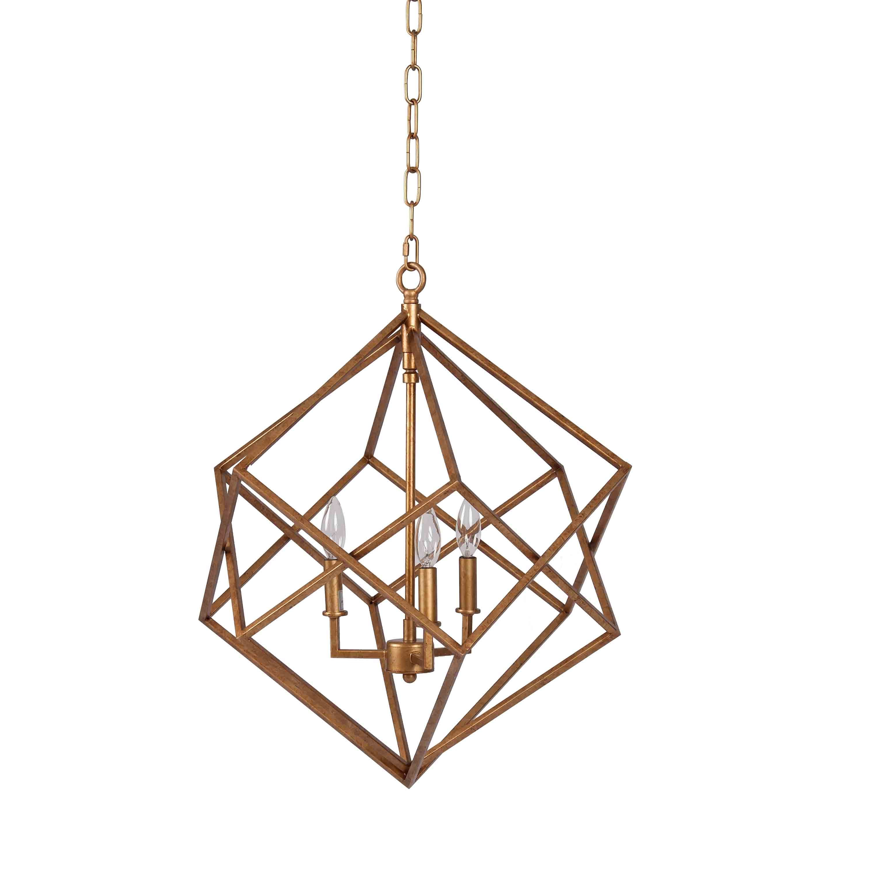 Widely Used Hydetown 1 Light Single Geometric Pendants Throughout Ojas Geometric 3 Light Geometric Chandelier (View 25 of 25)