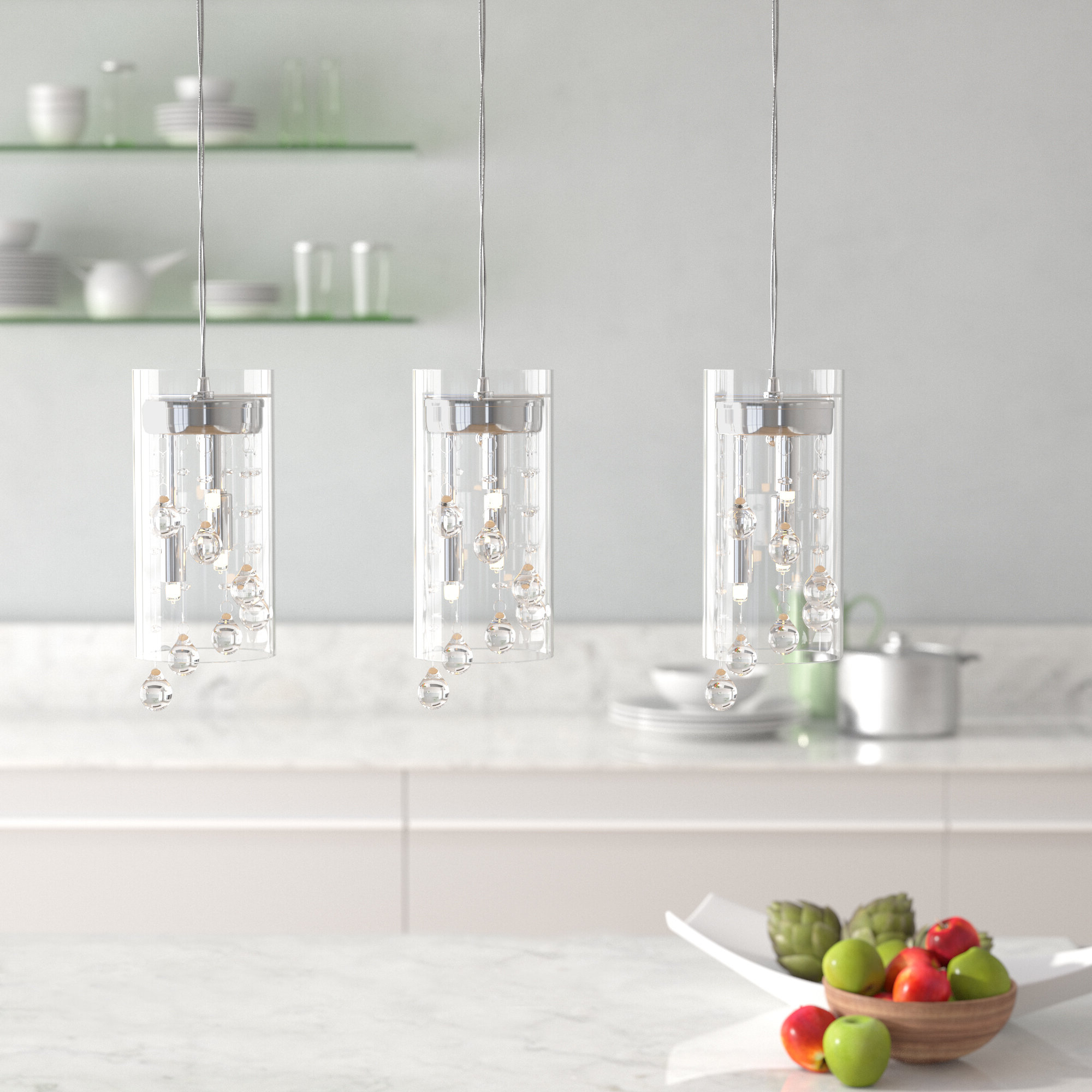Widely Used Isabel 3 Light Kitchen Island Cylinder Pendant With Ariel 3 Light Kitchen Island Dome Pendants (View 24 of 25)