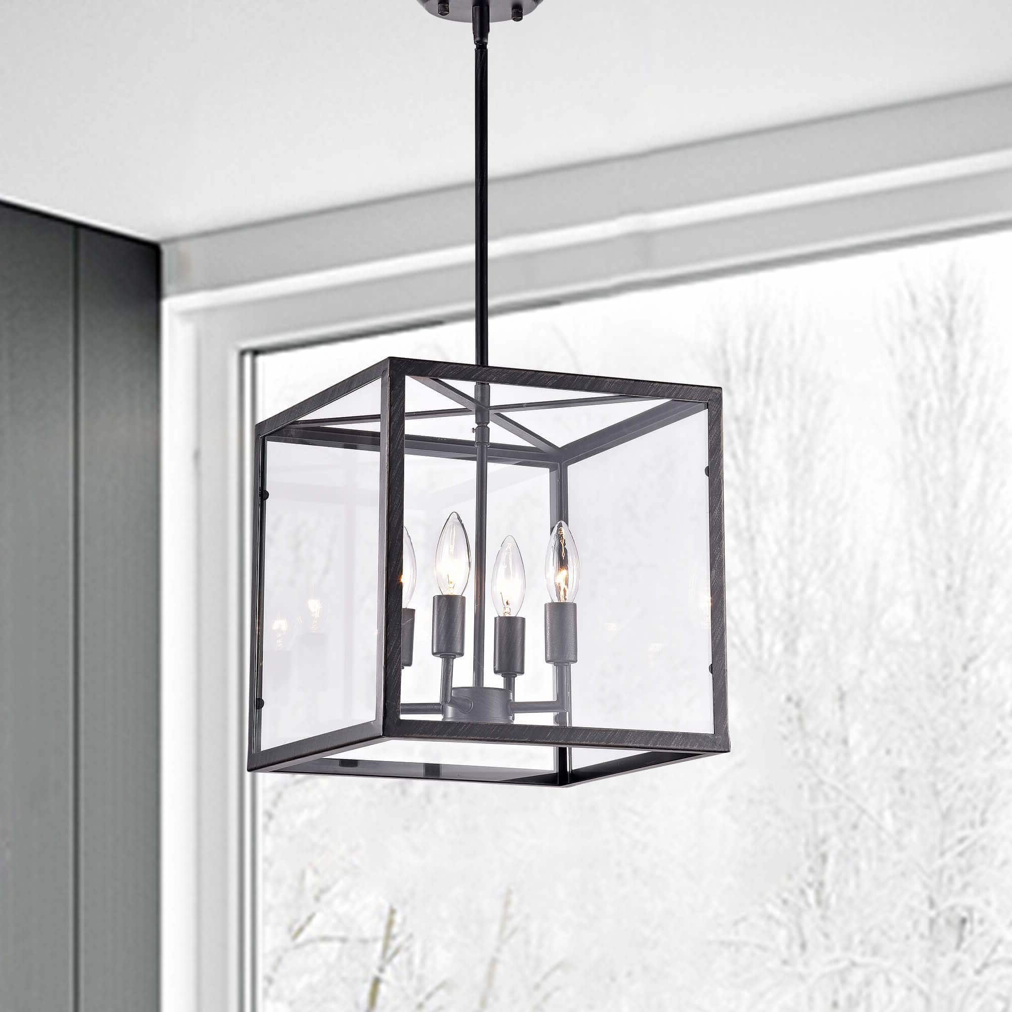 Widely Used La Pedriza Antique Black 4 Light Square Cage Chandelier Throughout Ellenton 4 Light Rectangle Chandeliers (View 25 of 25)