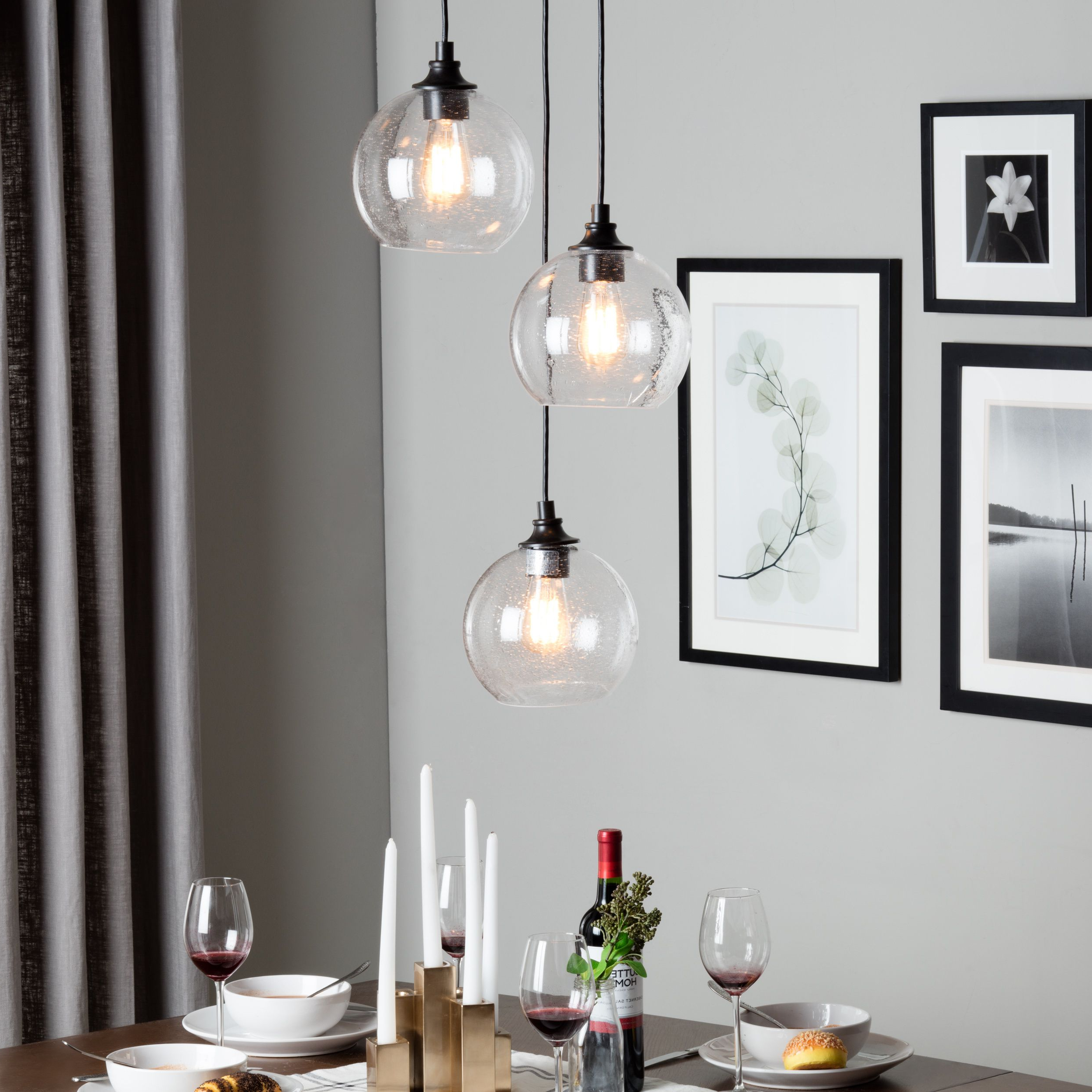 Widely Used Love The Light! Overstock $171 Uptown 3 Light Clear Globe With Vernice 3 Light Cluster Bell Pendants (View 8 of 25)
