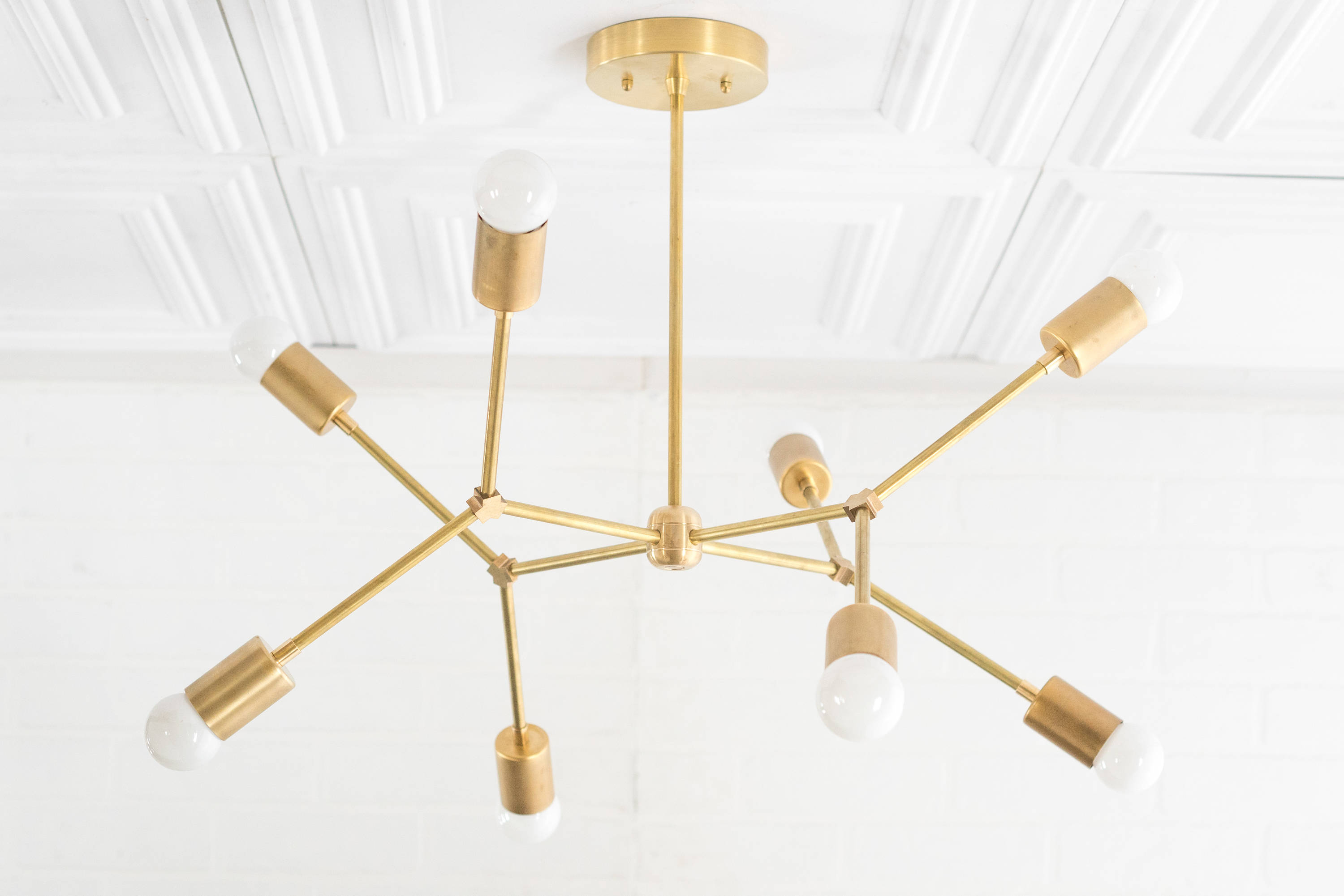 Widely Used Lynn 6 Light Geometric Chandeliers Pertaining To Geometric Lamp – Modern Brass Chandelier – Ceiling Fixture – Gold  Chandeliers (View 25 of 25)
