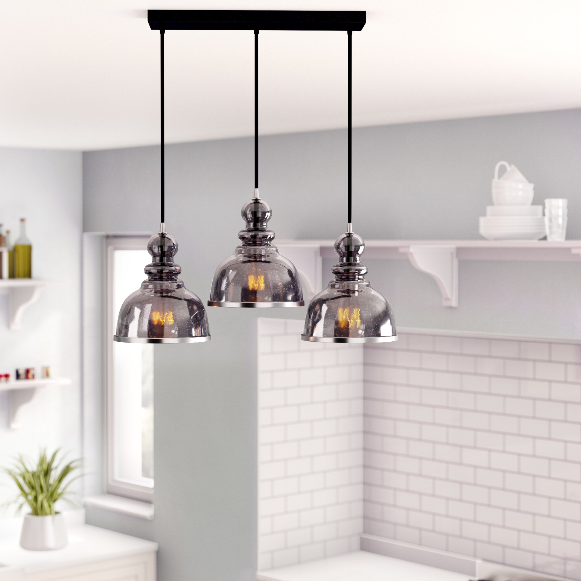 Widely Used Martinique 3 Light Kitchen Island Dome Pendants Regarding Kaci 3 Light Kitchen Island Pendant (View 5 of 25)