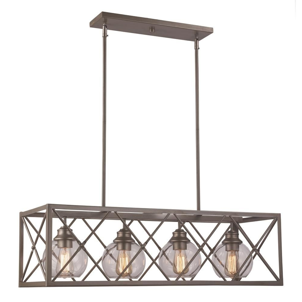 Widely Used Odie 8 Light Kitchen Island Square / Rectangle Pendants Intended For Bel Air Lighting 4 Light Antique Silver Leaf Pendant (View 24 of 25)