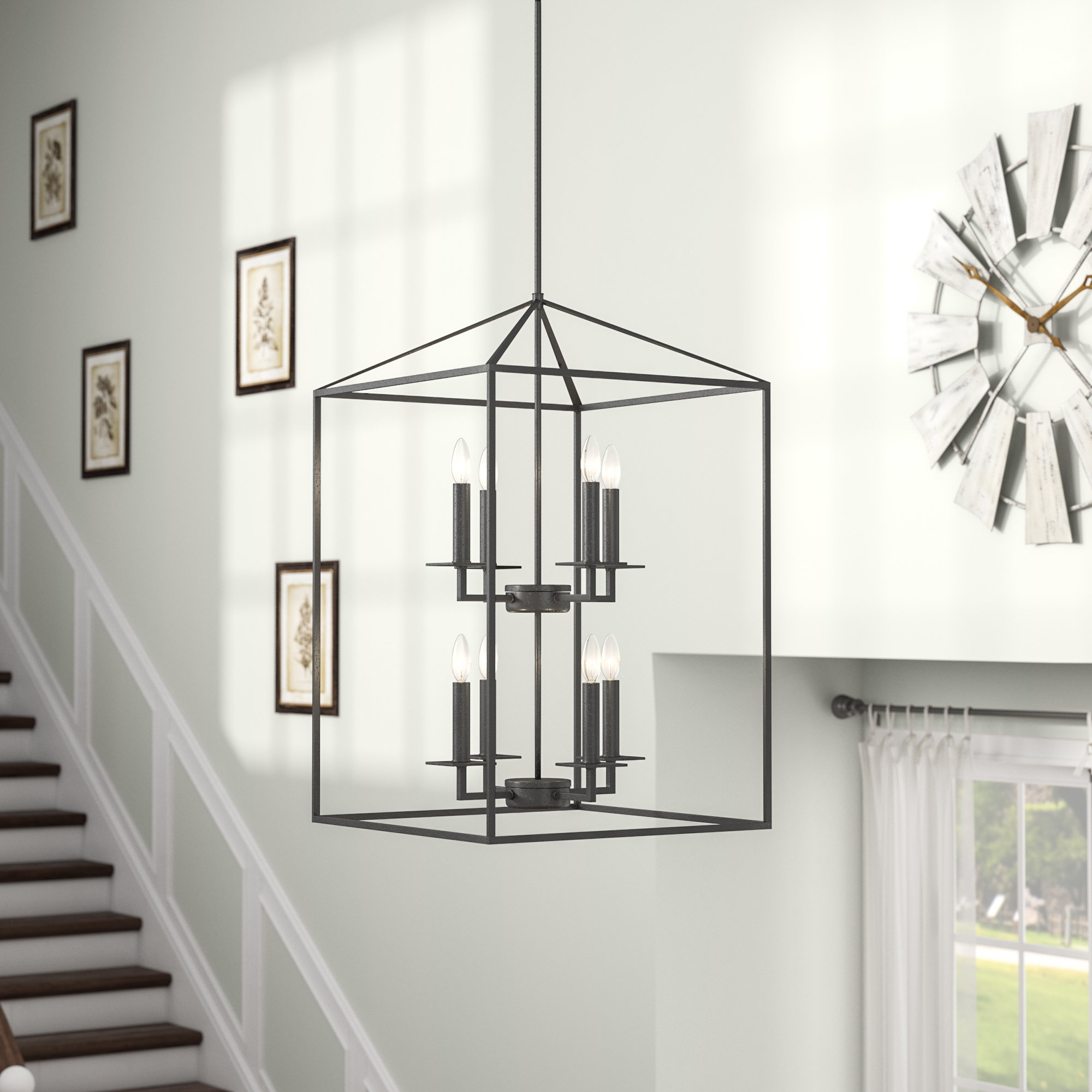 Widely Used Odie 8 Light Kitchen Island Square / Rectangle Pendants Throughout Odie 8 Light Lantern Tiered Pendant (View 6 of 25)