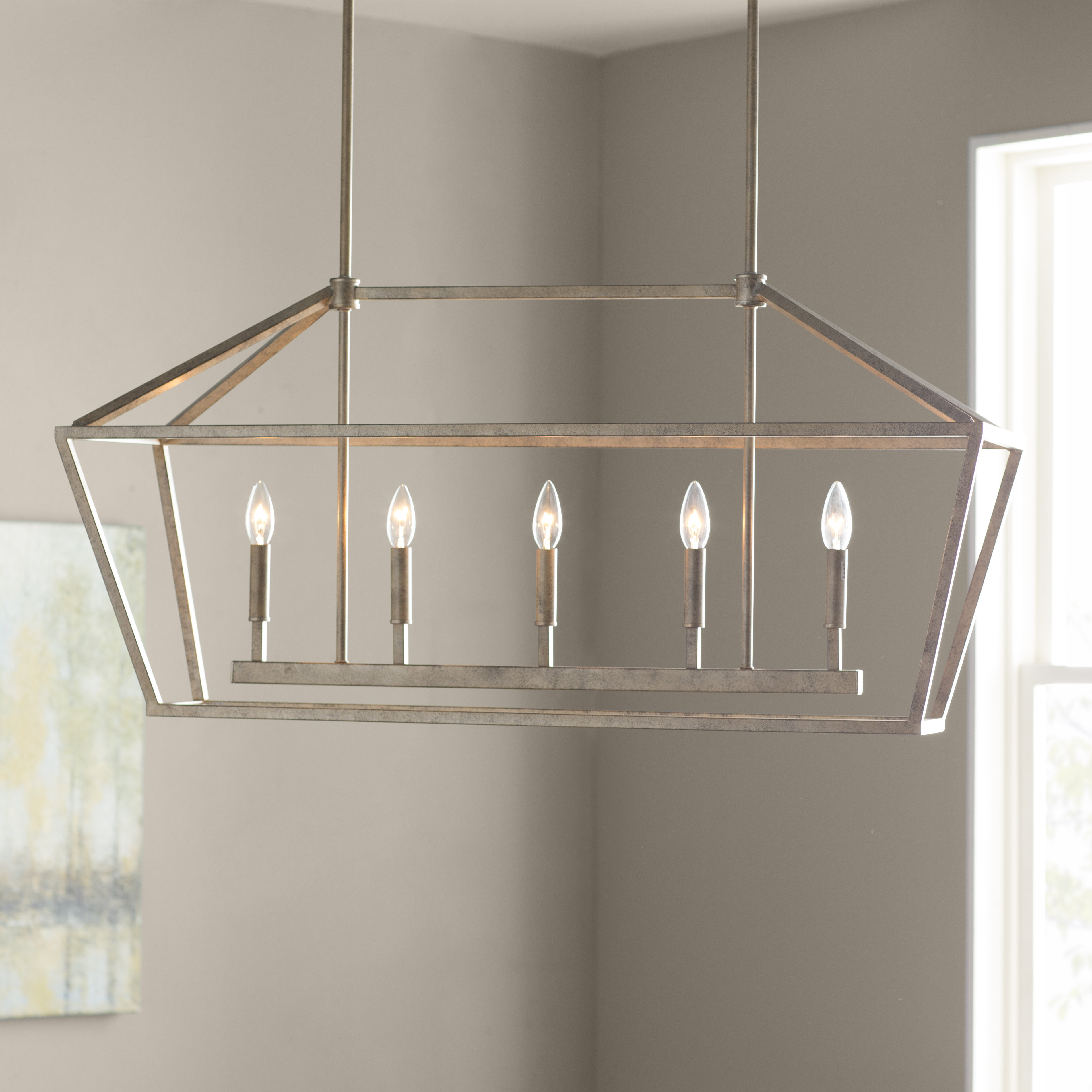 Widely Used Odie 8 Light Kitchen Island Square / Rectangle Pendants Within Freemont 5 Light Kitchen Island Pendant (View 25 of 25)