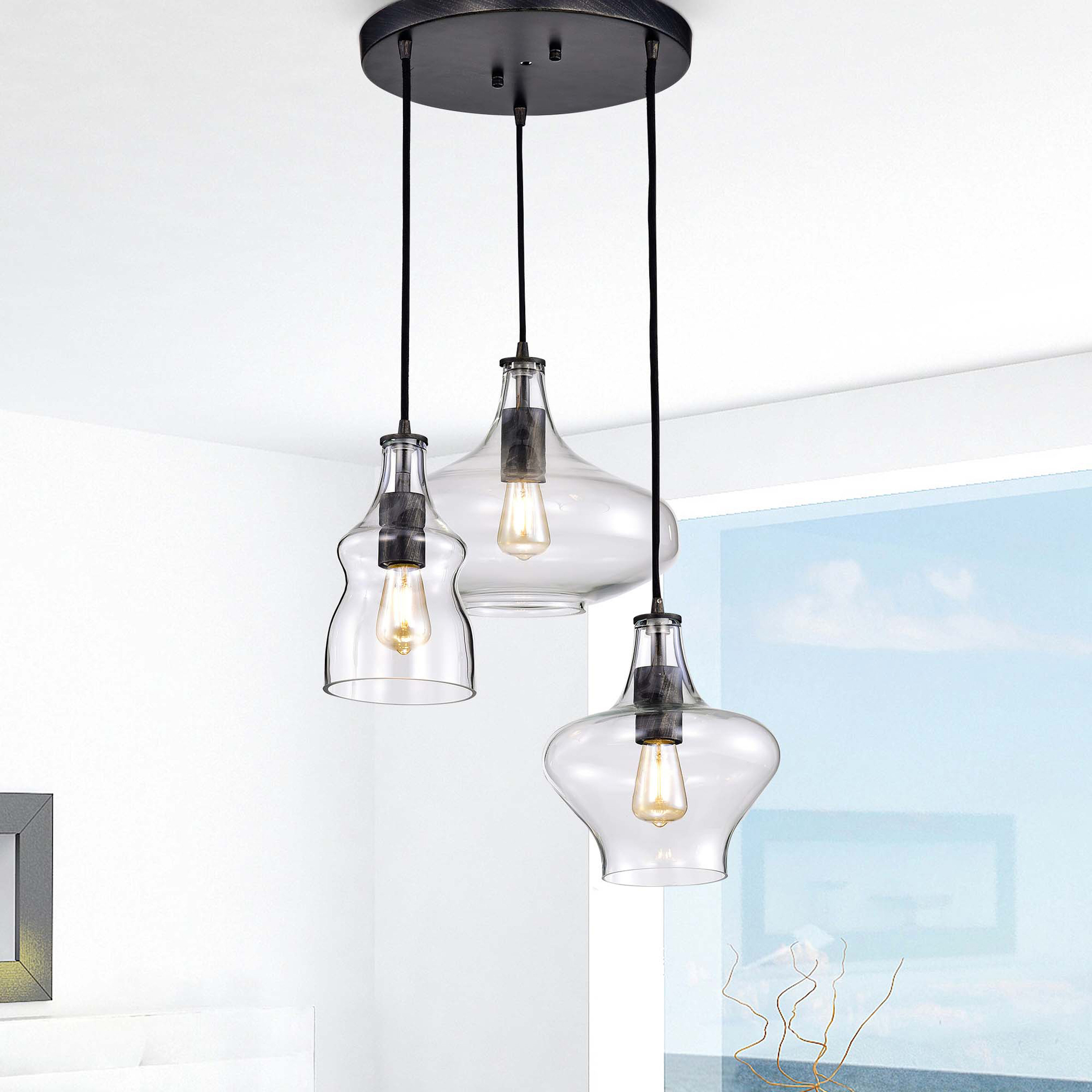 Widely Used Rison 3 Light Cluster Geometric Pendant With Regard To Armande 3 Light Lantern Geometric Pendants (View 25 of 25)