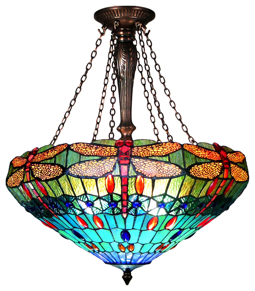 "Widely Used Rossi Industrial Vintage 1 Light Geometric Pendants With Regard To Scarlet, Tiffany Style 3 Light Dragonfly Inverted Ceiling Pendant, 24"" Shade (View 21 of 25)"
