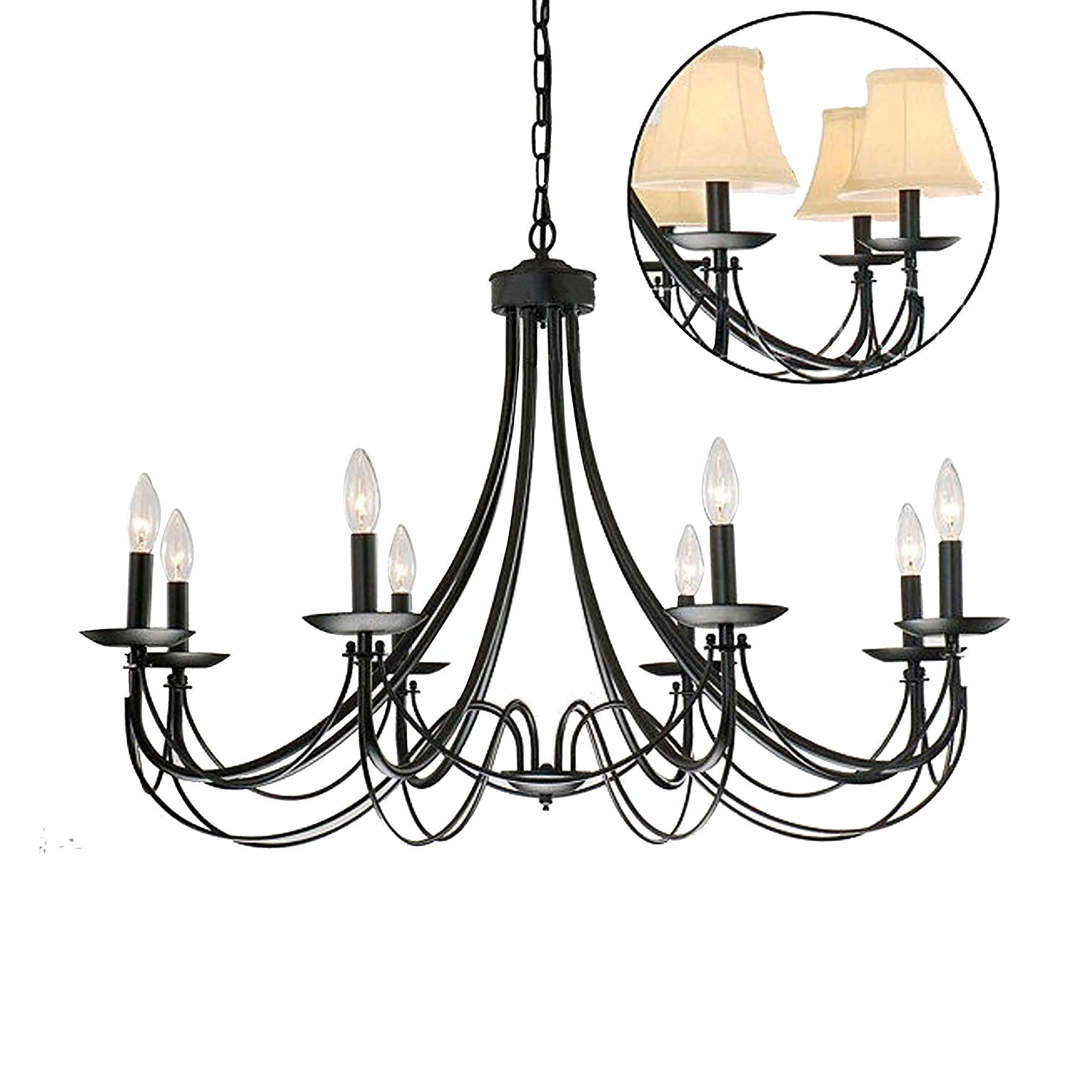 Widely Used Shaylee 6 Light Candle Style Chandeliers Regarding Iron 8 Light Black Chandelier (View 21 of 25)