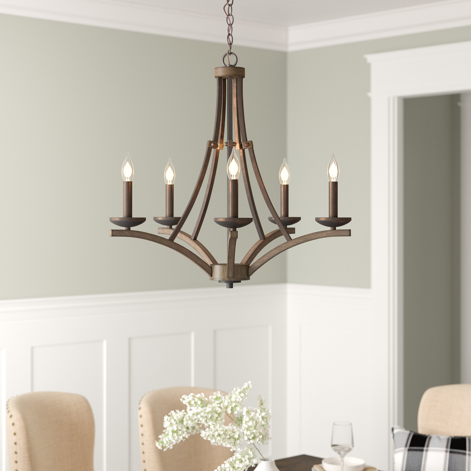 Wireman 5 Light Candle Style Chandelier In Popular Kenna 5 Light Empire Chandeliers (View 18 of 25)