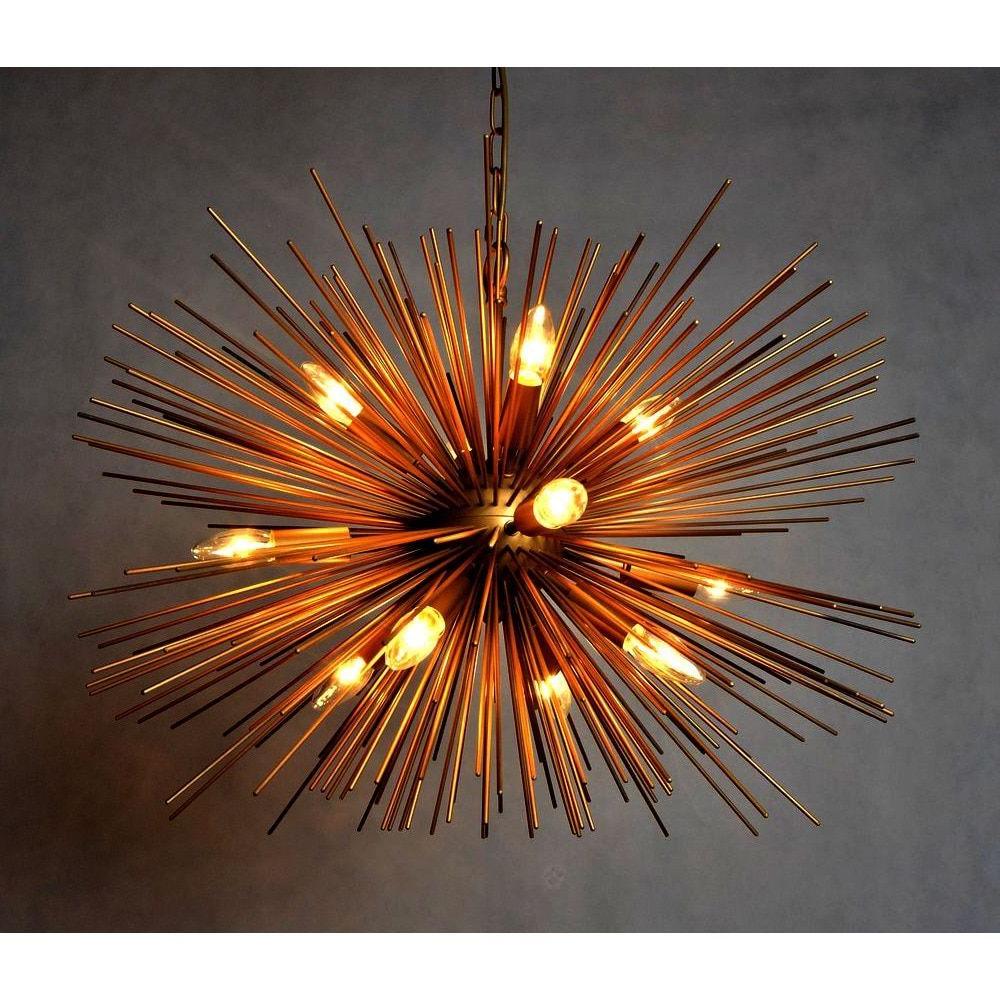 Y-Decor Gold Finish 12-Light Chandelier (Gold) (Glass within 2019 Nelly 12-Light Sputnik Chandeliers