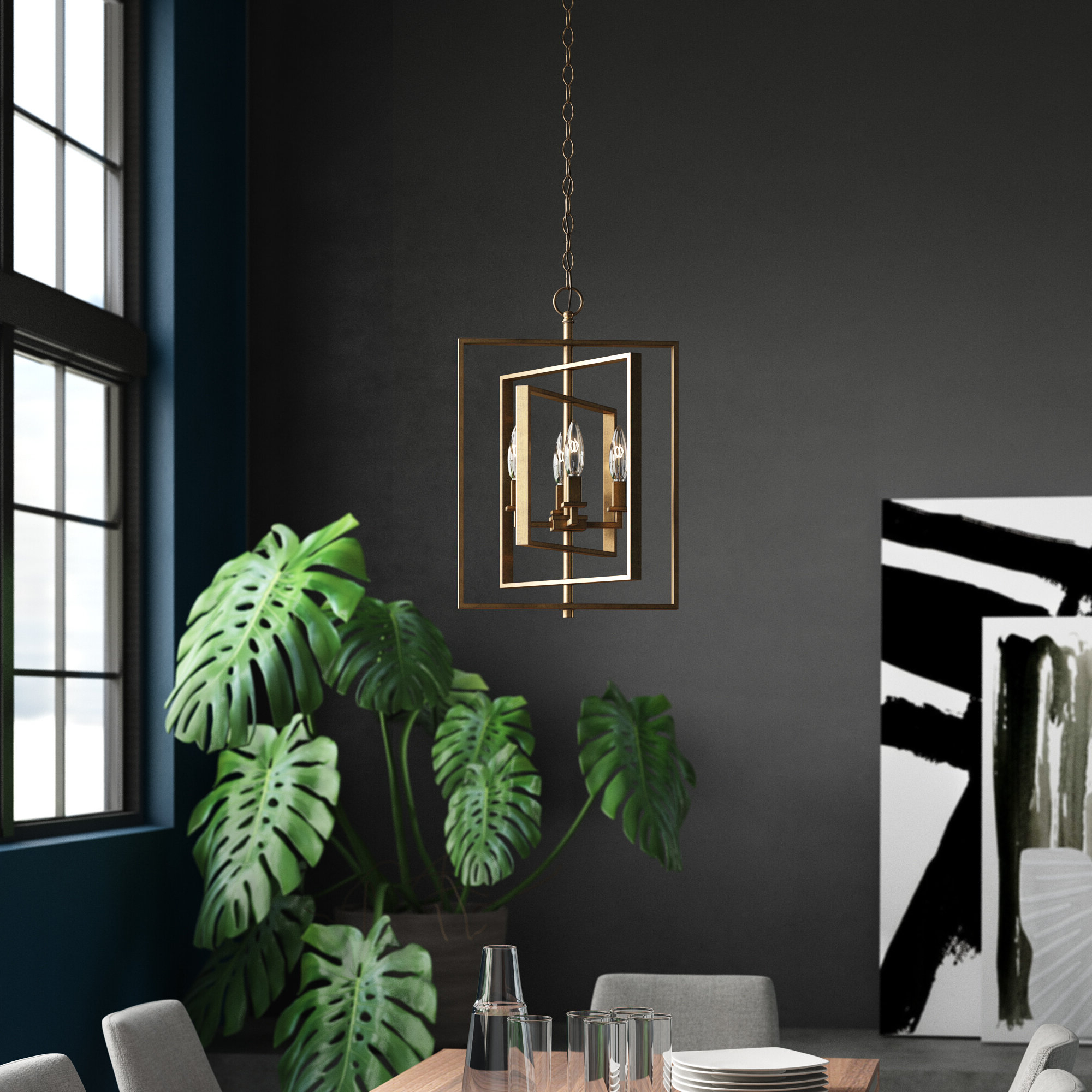 Yarnell 4 Light Square/rectangle Chandelier Regarding Fashionable Delon 4 Light Square Chandeliers (View 25 of 25)