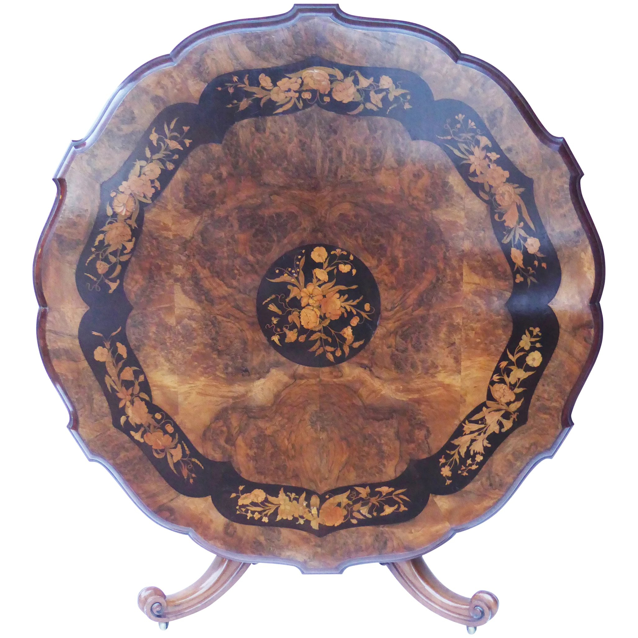 19Th Century Burr Walnut And Marquetry Dining Table Within Most Recently Released Shaw Dining Tables, English Brown (View 25 of 25)