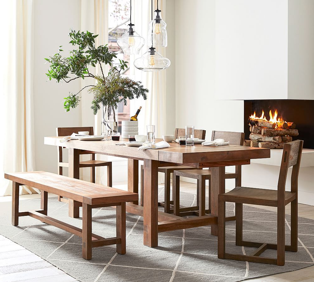 2019 Blackened Oak Benchwright Extending Dining Tables with Reed Extending Dining Table, Antique Umber - Small-Space