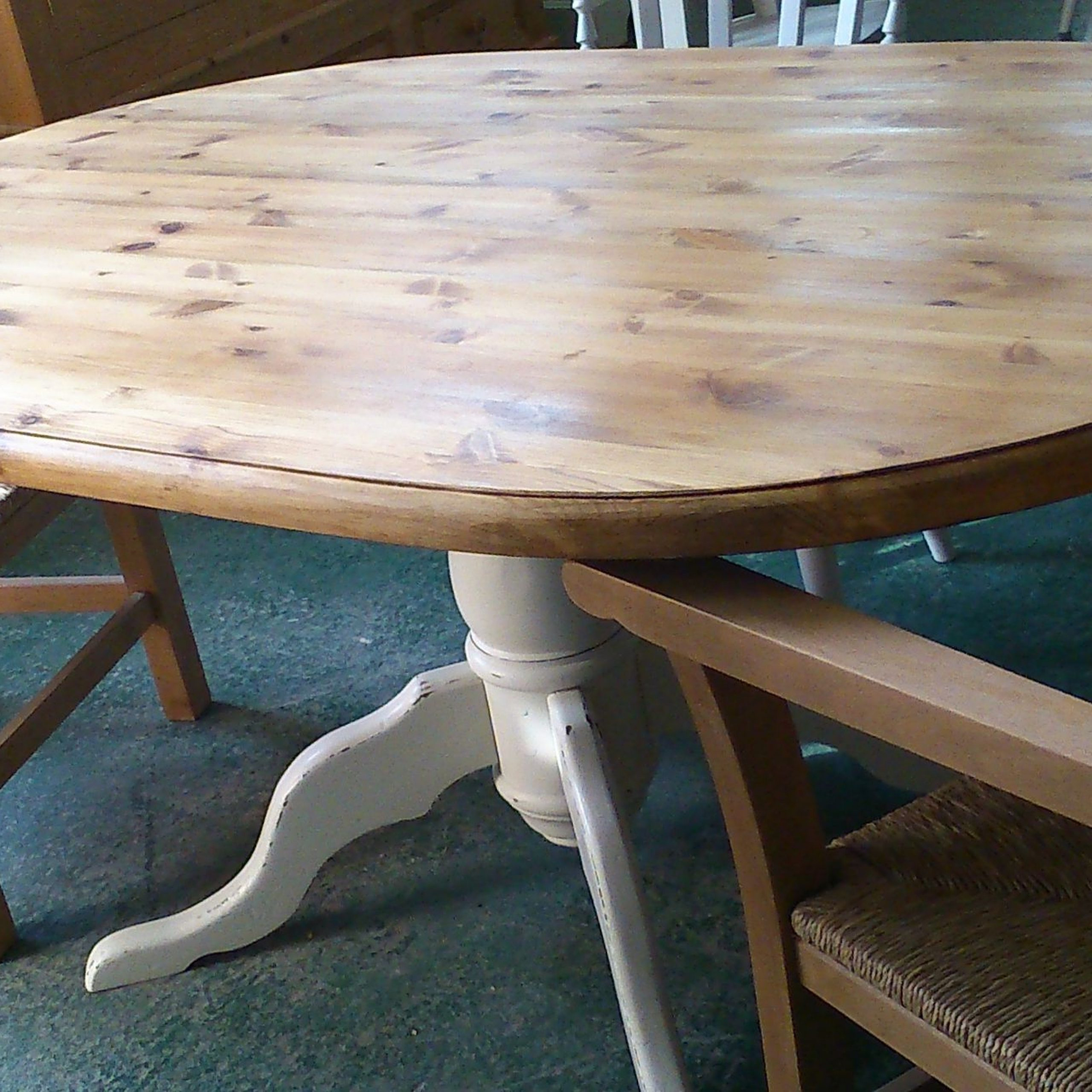 2019 Cleary Oval Dining Pedestal Tables in Oval Pine Table Base Legs Painted In Farrow & Ball 'slipper