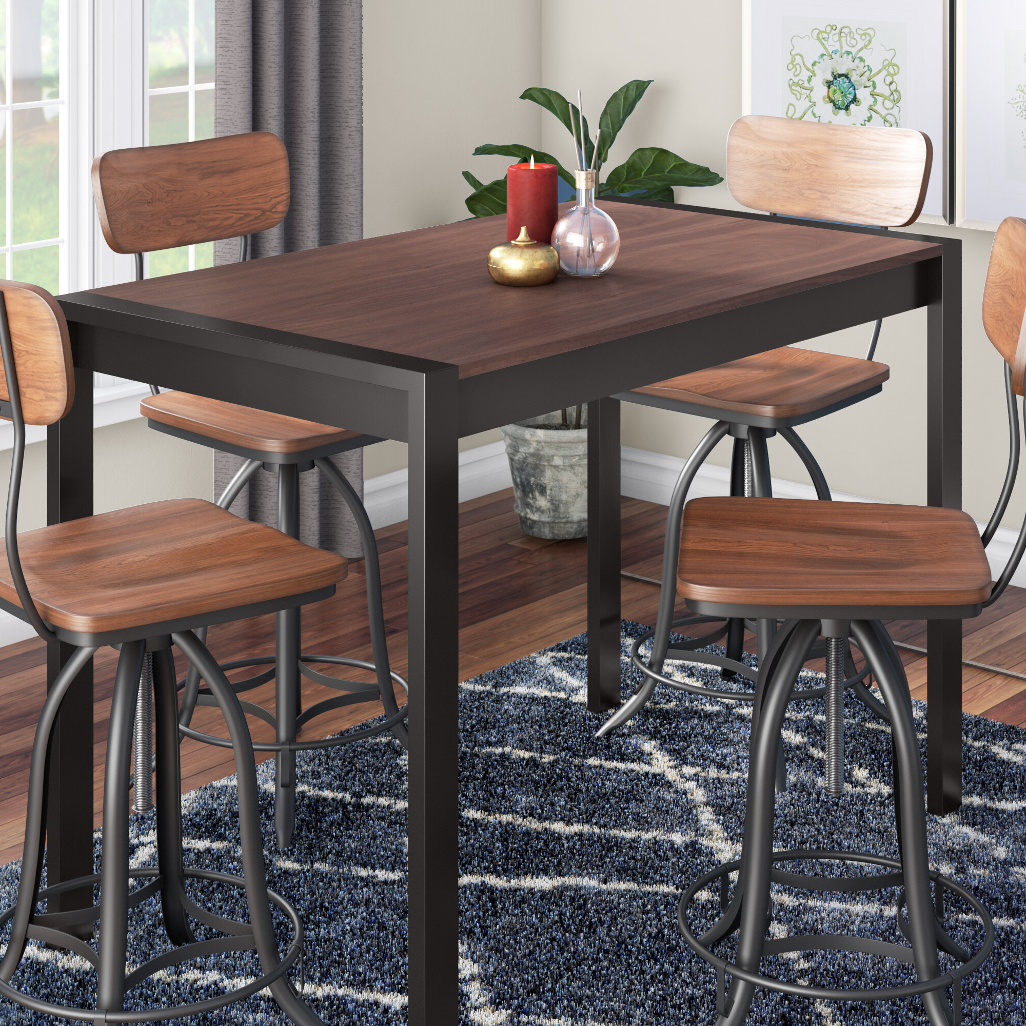 2019 Gary Counter Height Solid Wood Dining Table throughout Bismark Dining Tables