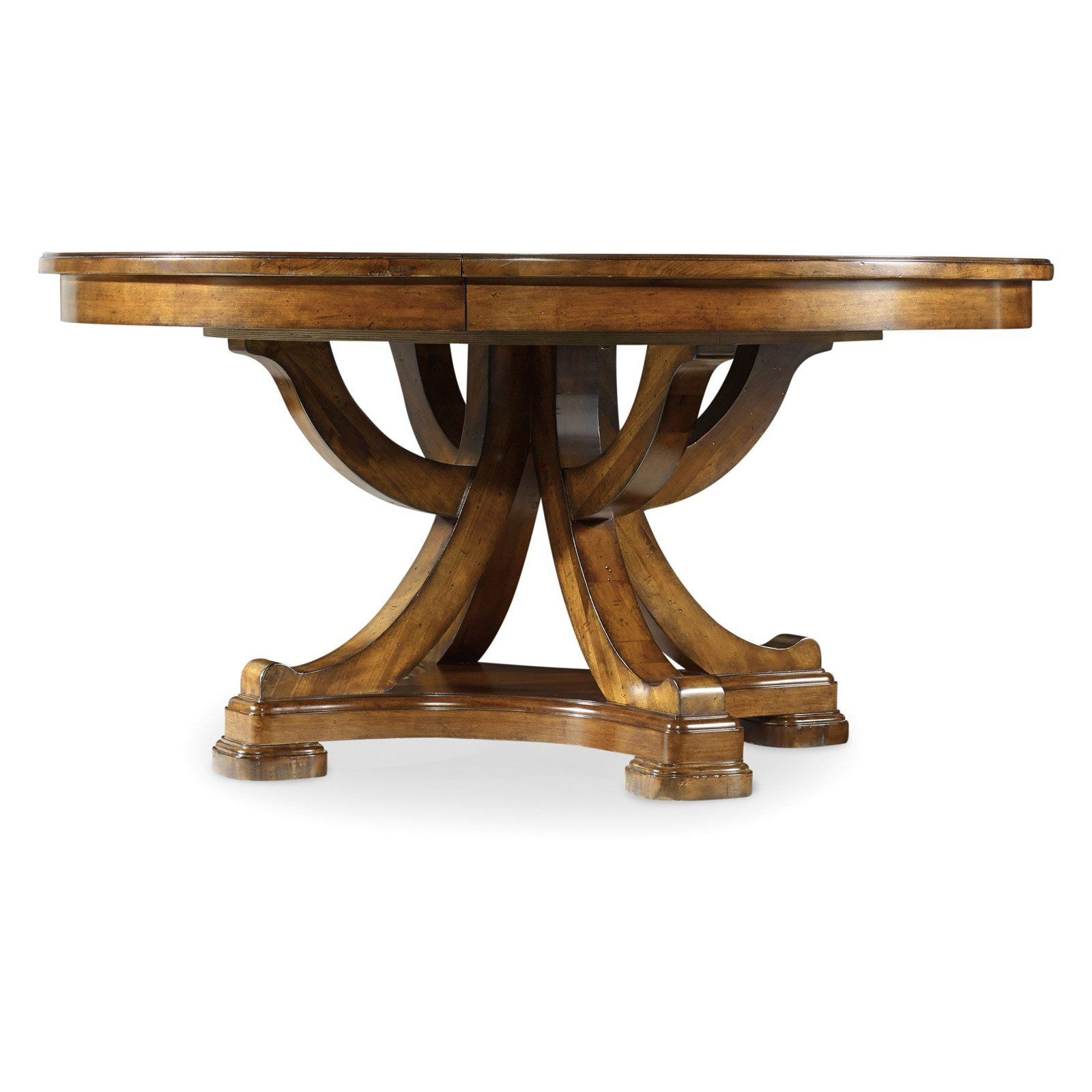 2019 Hooker Furniture Tynecastle Round Pedestal Extension Dining with Rustic Mahogany Benchwright Pedestal Extending Dining Tables