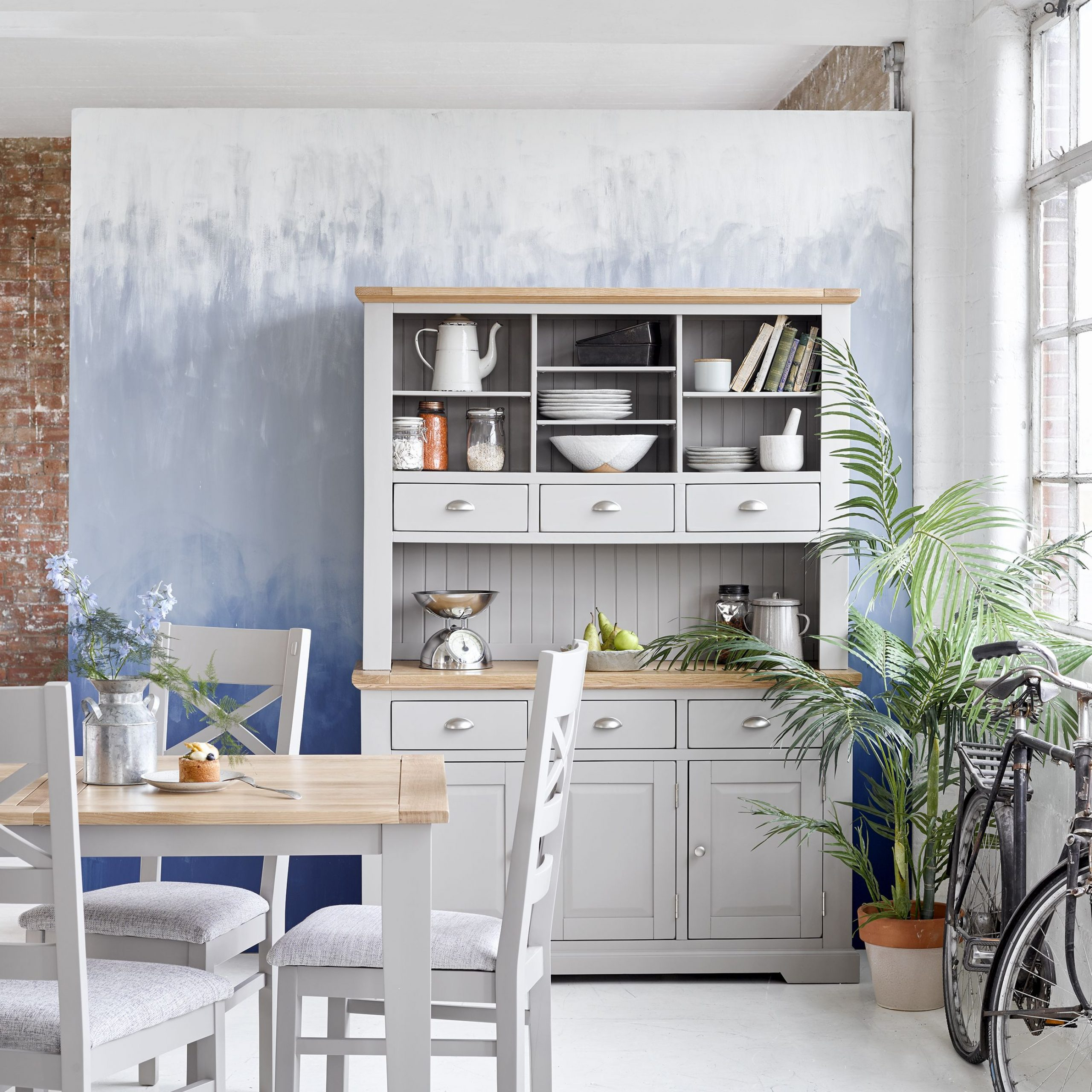 2019 St Ives Natural Oak And Light Grey Painted Large Dresser pertaining to Shaw Dining Tables, Blonde Oak
