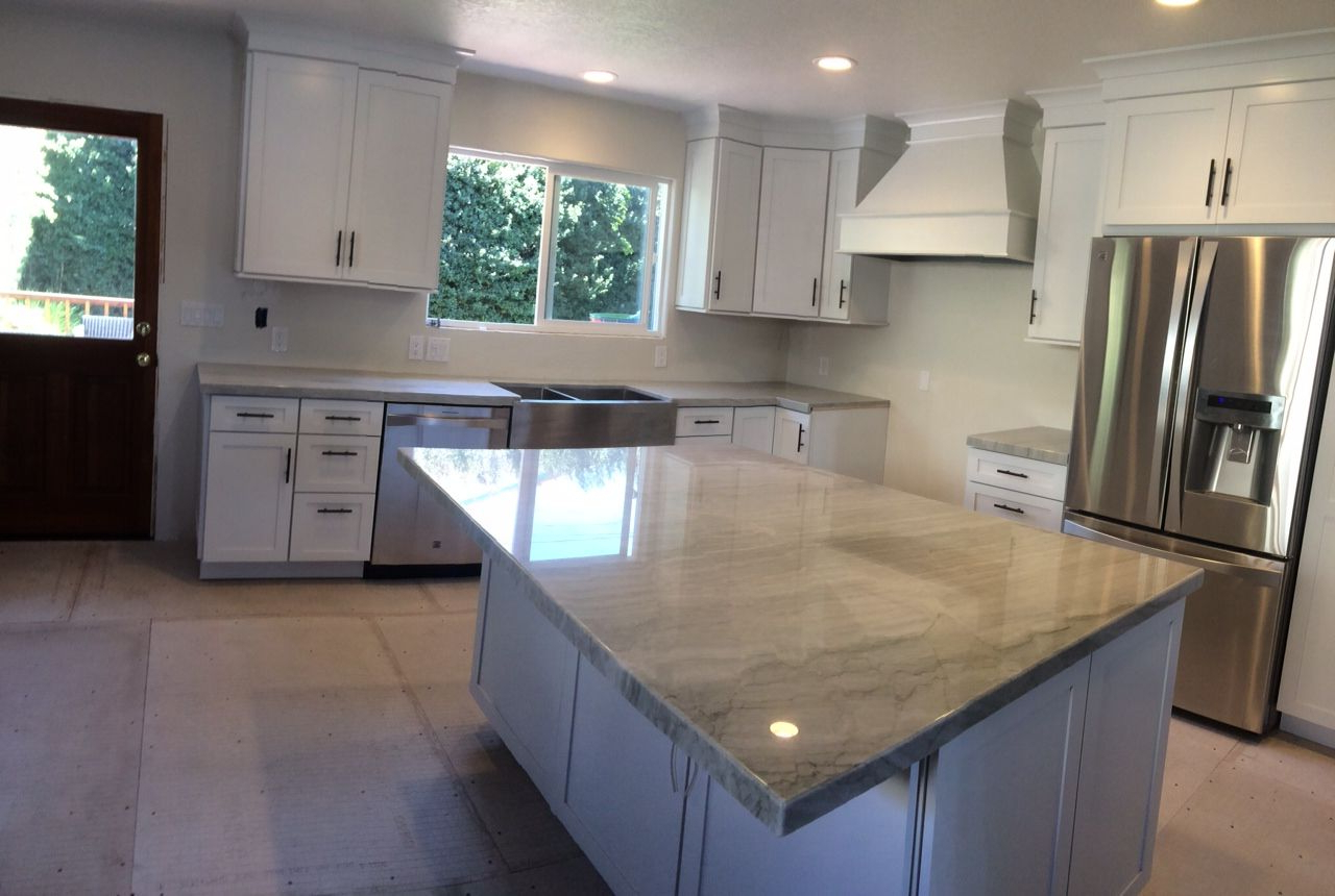 2019 Upland Marble Kitchen Islands throughout Sea Pearl Quartzite Kitchen Countertop