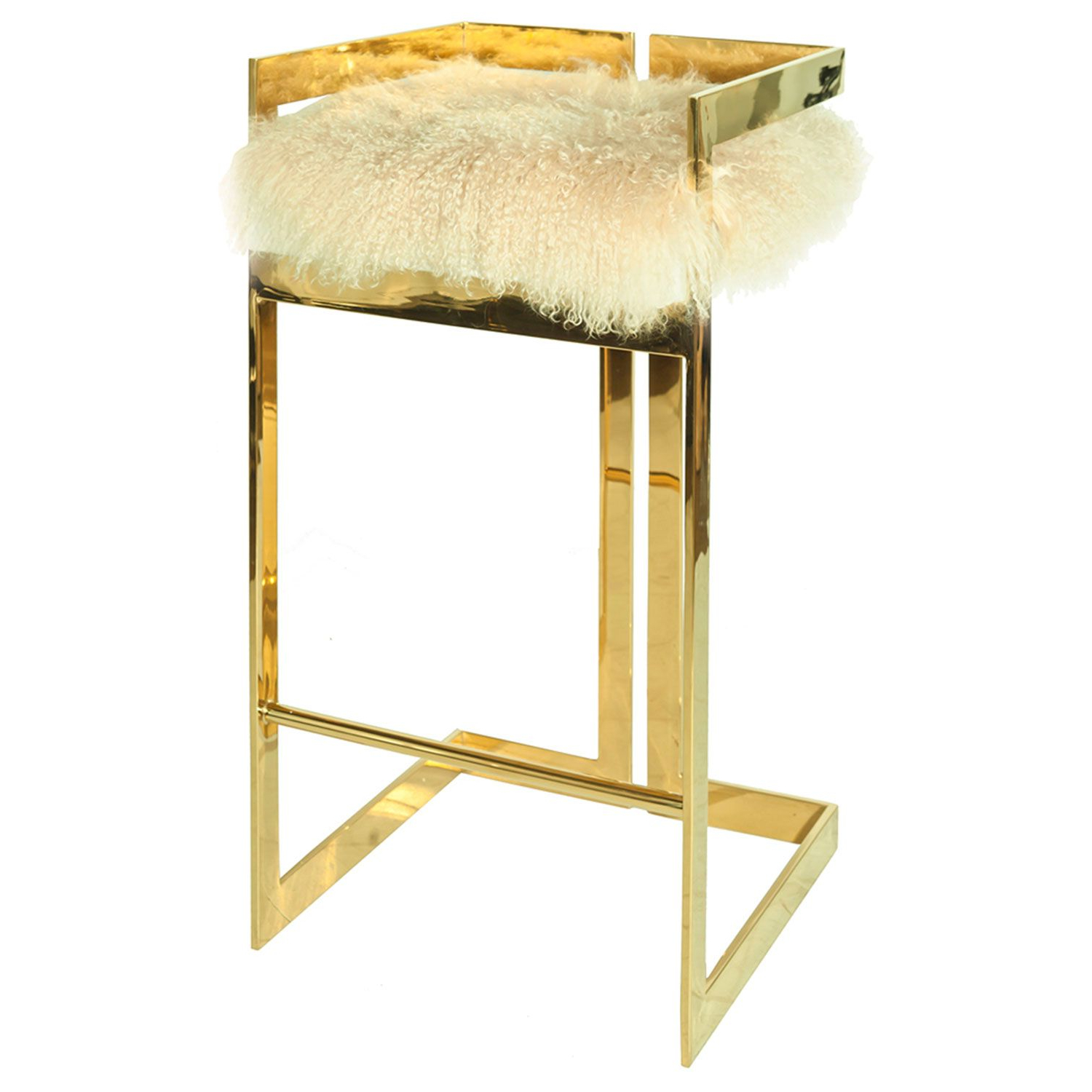 2019 Worlds Away Hearst Mongolian Fur With Brass Bar Stool for Hearst Bar Tables