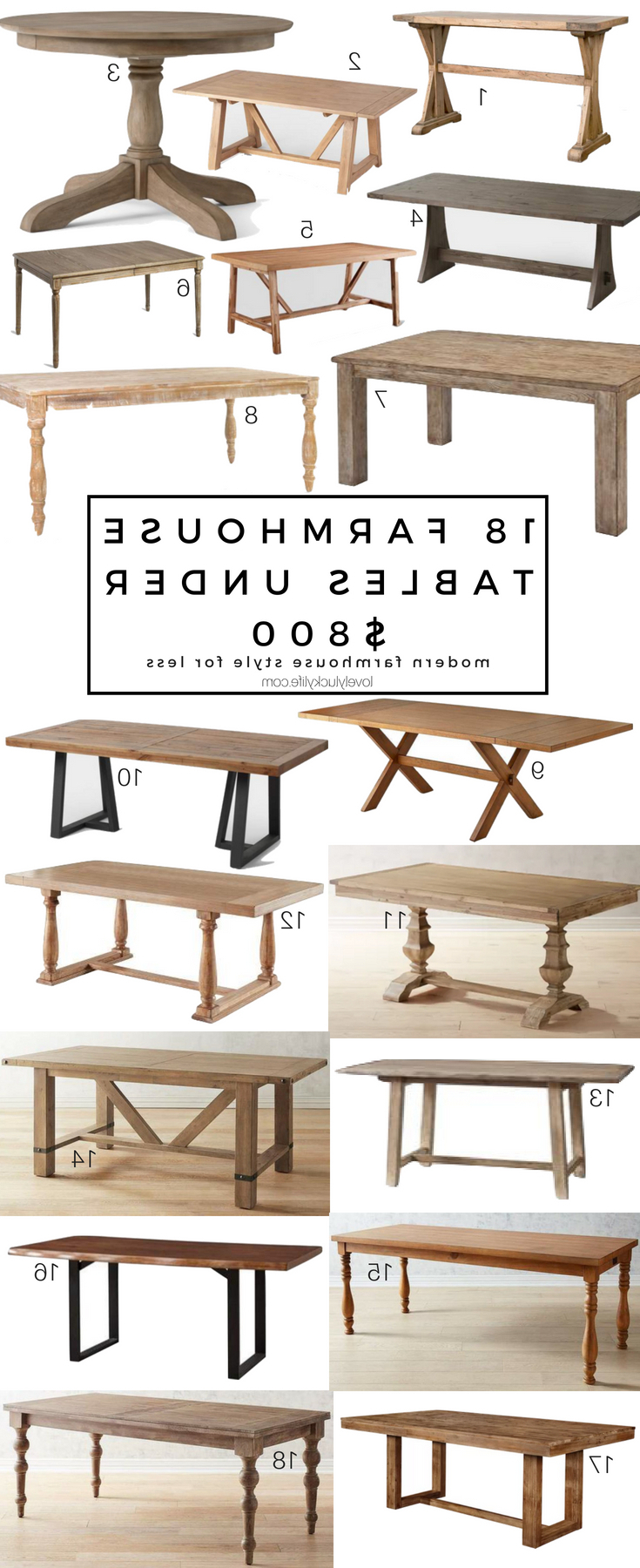 2020 18 Of The Best Modern Farmhouse Tables Under $800 - Lovely throughout Weathered Gray Owen Pedestal Extending Dining Tables