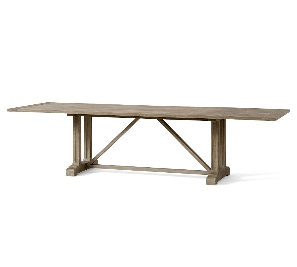 2020 Gray Wash Benchwright Extending Dining Tables For Livingston Extending Dining Table (View 3 of 25)