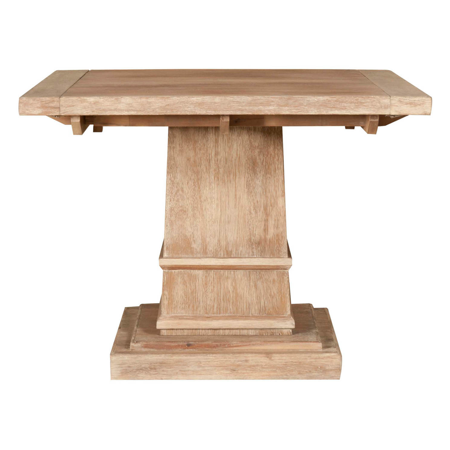 2020 Gray Wash Benchwright Pedestal Extending Dining Tables regarding Harlan Square Extension Dining Table, Stone Wash