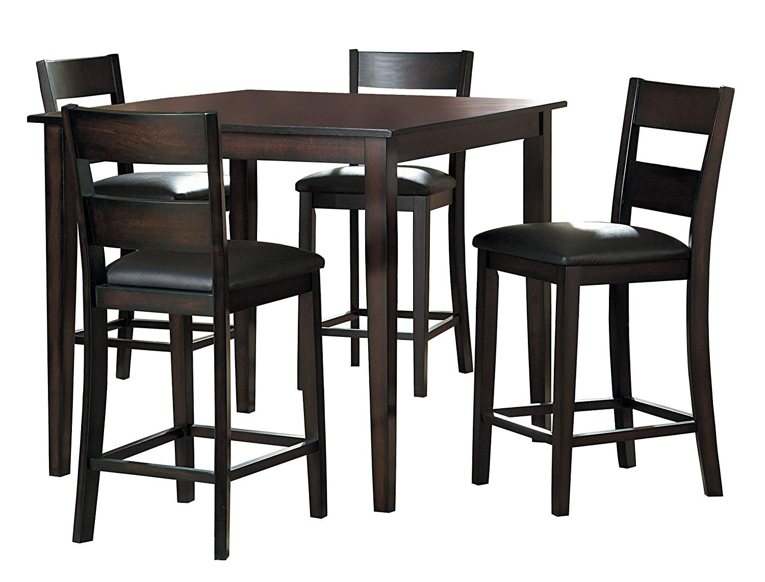 2020 Griffin Reclaimed Wood Bar-Height Tables throughout Homelegance Griffin 5-Piece Counter Height Dining Set, Espresso