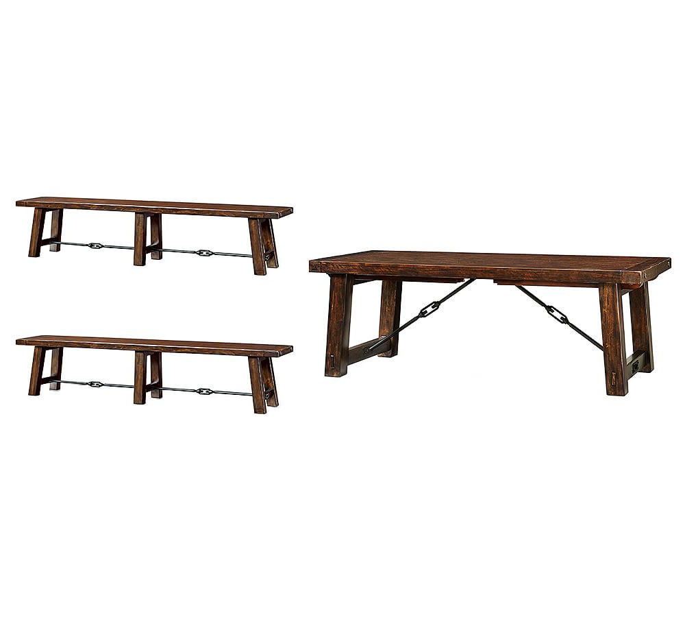 2020 Rustic Mahogany Benchwright Dining Tables inside Benchwright Large Extending Dining Table & 2 Large Benches