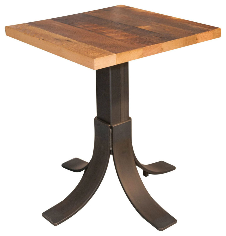 30X30 Reclaimed Barnwood Dining Table, Metal Pedestal Base, Restaurant Grade with Well-known Bowry Reclaimed Wood Dining Tables