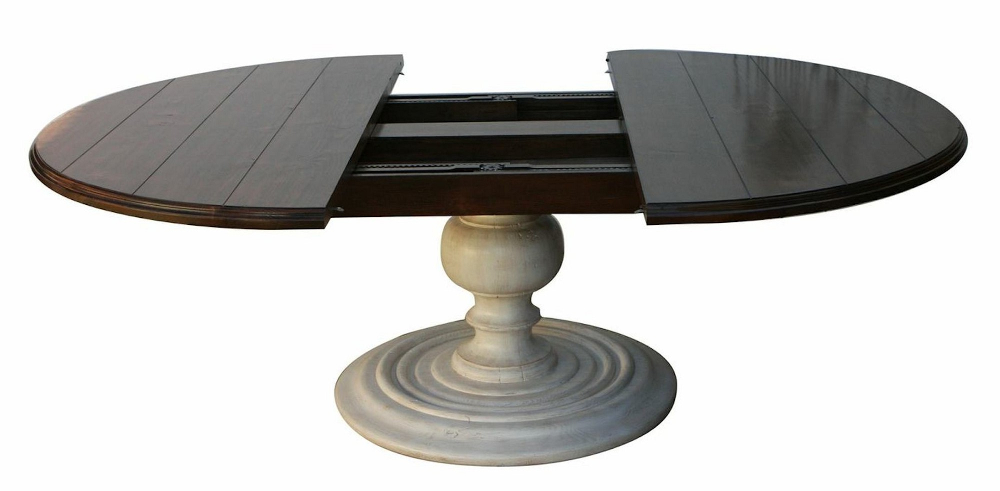 48 Round Pedestal Dining Table For Small Dining Room Spaces for Well known Blackened Oak Benchwright Pedestal Extending Dining Tables