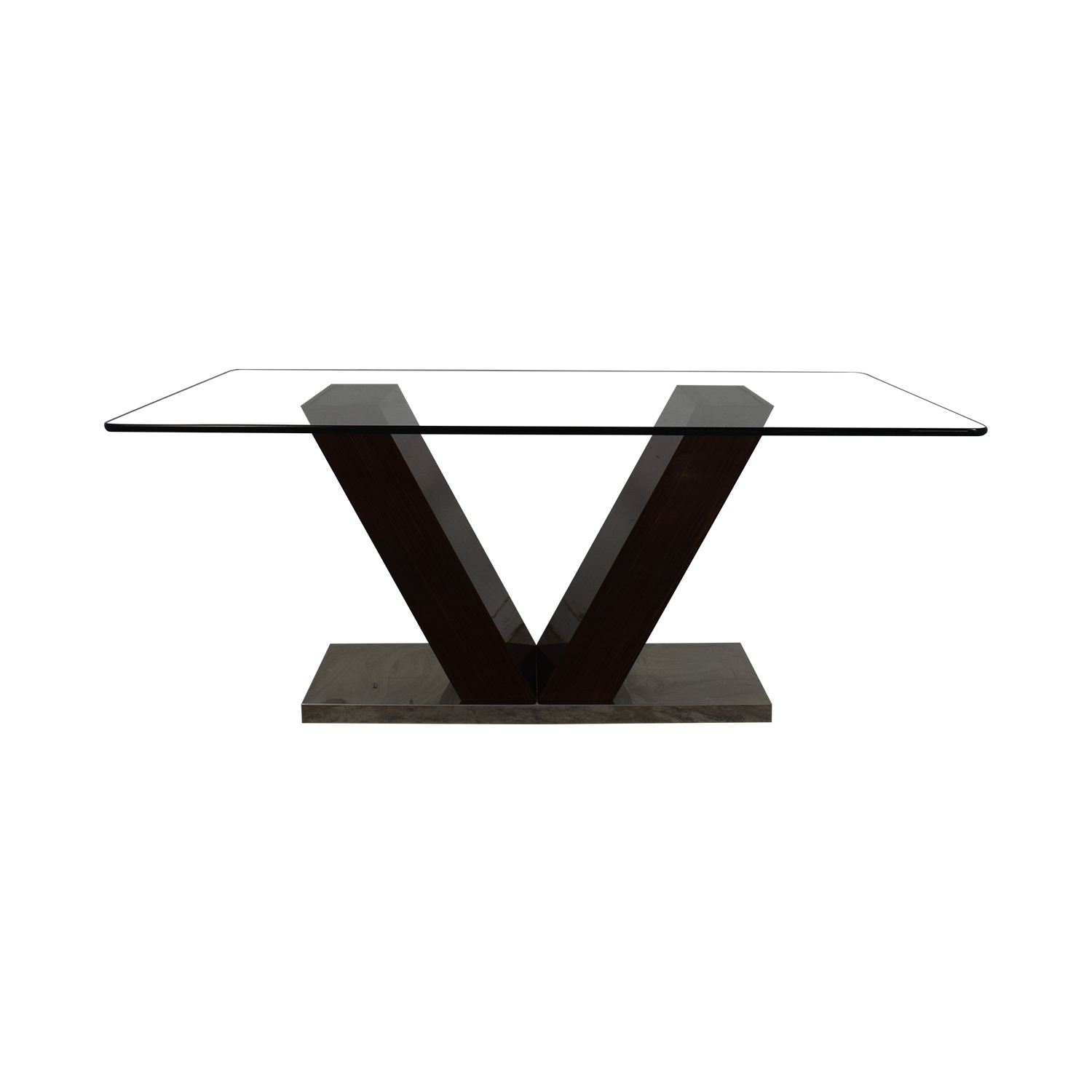[%88% Off – V Shaped Base Glass Dining Table / Tables Regarding Well Liked Salvaged Black Shayne Drop Leaf Kitchen Tables|Salvaged Black Shayne Drop Leaf Kitchen Tables For Trendy 88% Off – V Shaped Base Glass Dining Table / Tables|Current Salvaged Black Shayne Drop Leaf Kitchen Tables Inside 88% Off – V Shaped Base Glass Dining Table / Tables|2019 88% Off – V Shaped Base Glass Dining Table / Tables With Regard To Salvaged Black Shayne Drop Leaf Kitchen Tables%] (View 17 of 25)