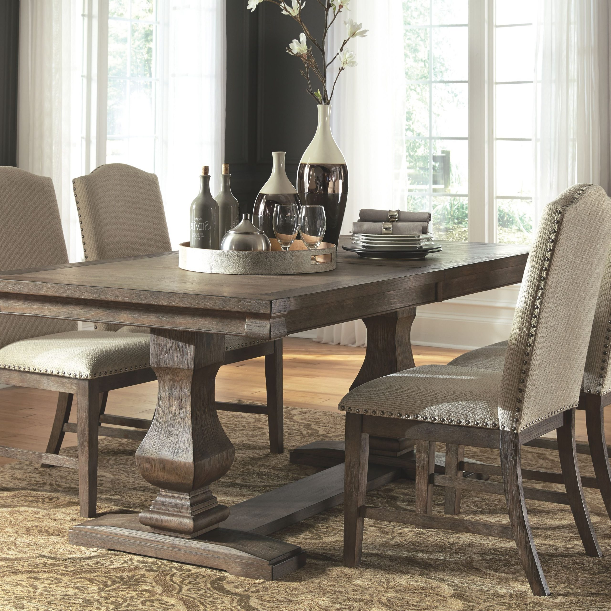 Aecc Lorraine Extending Dining Table C Hewn Oak C Pottery Within Most Popular Hewn Oak Lorraine Pedestal Extending Dining Tables (View 10 of 25)
