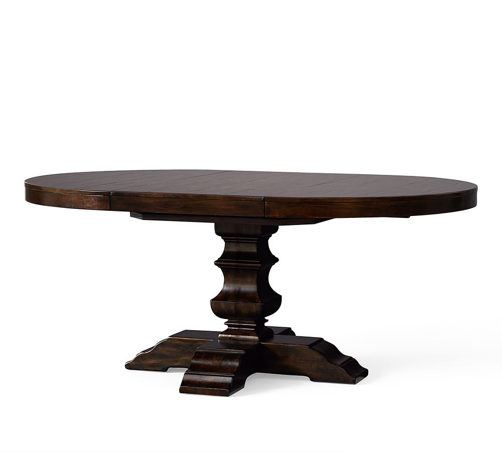 Alfresco Brown Benchwright Pedestal Extending Dining Tables Throughout Trendy Banks Extending Pedestal Dining Table (View 16 of 25)