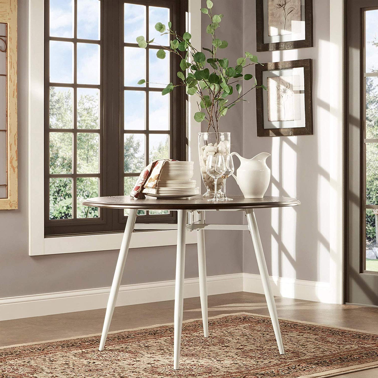 Amazon – Inspire Q Belita Mid Century Two Tone Modern Within Best And Newest Rustic Brown Lorraine Pedestal Extending Dining Tables (View 23 of 25)