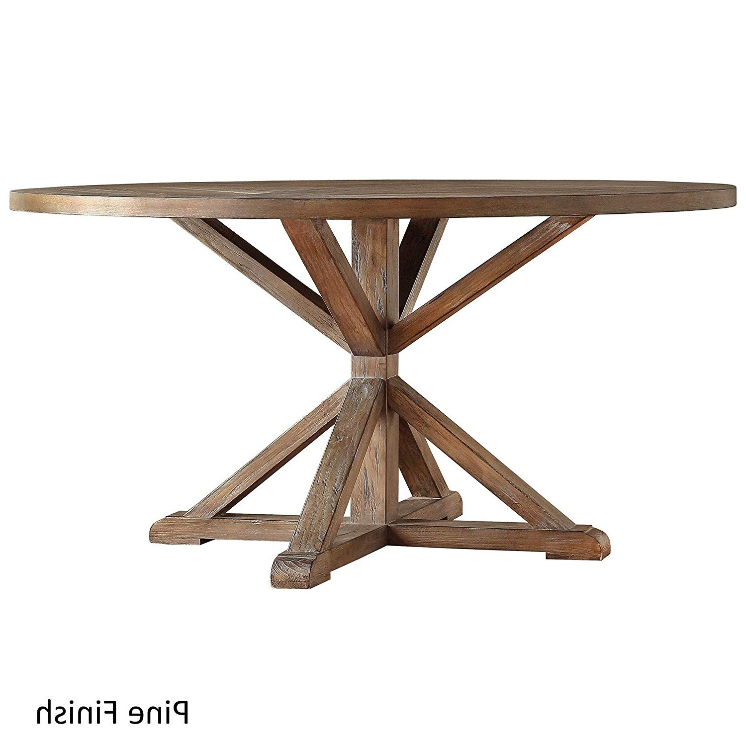 Amazon – Inspire Q Benchwright Rustic X Base Round Pine Throughout Most Recent Benchwright Round Pedestal Dining Tables (View 7 of 25)