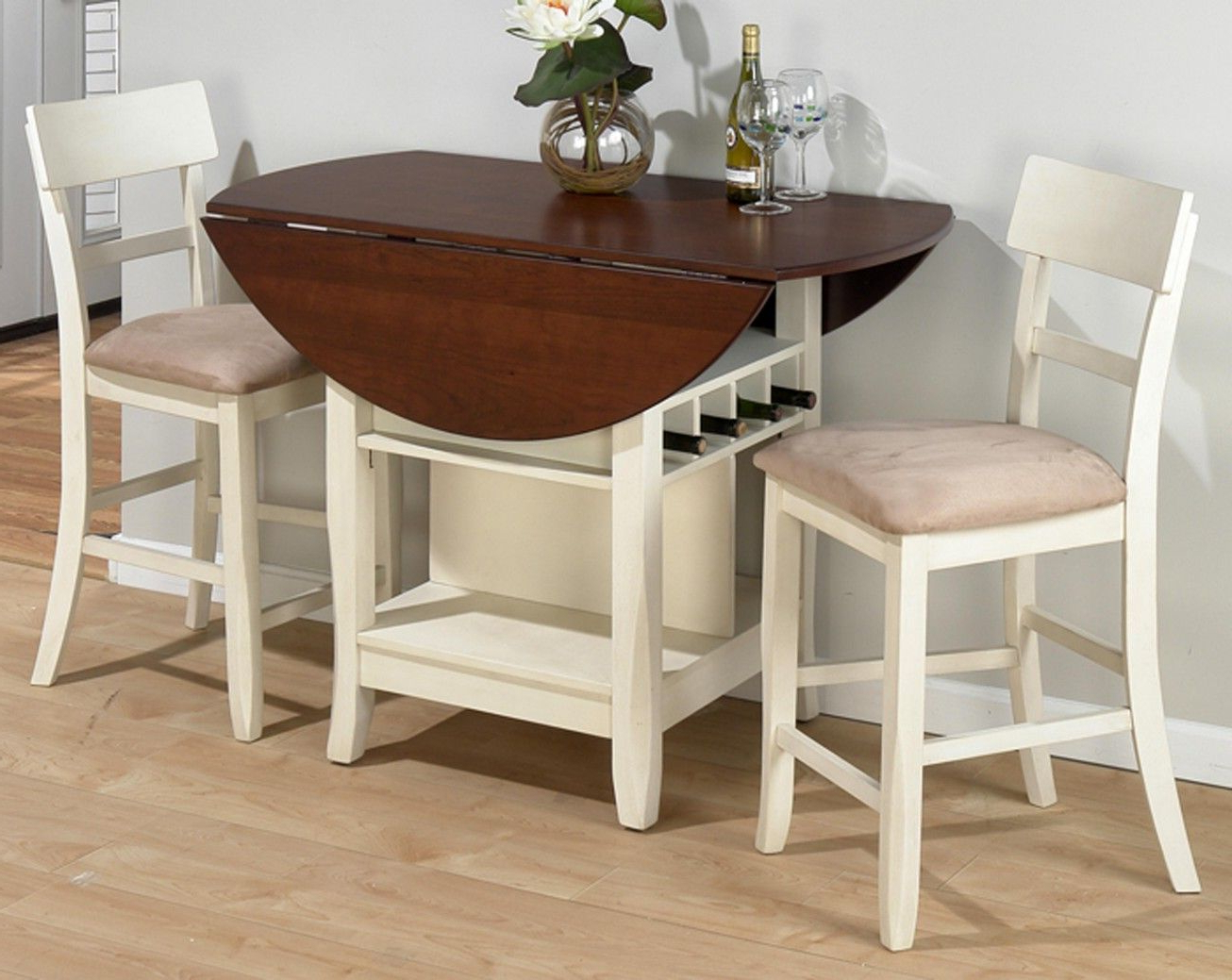 Antique White Shayne Drop Leaf Kitchen Tables Throughout Fashionable Statue Of Compact Dining Space Arrangement With Drop Leaf (View 8 of 25)