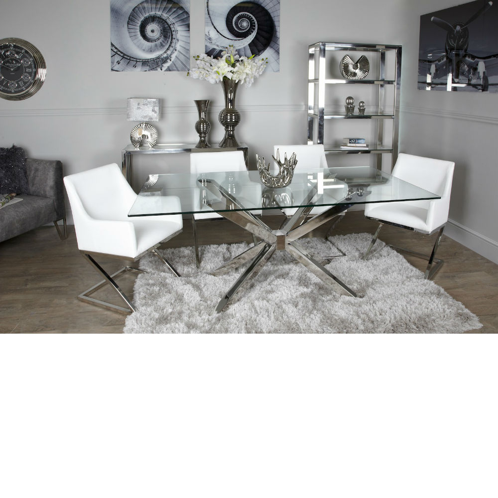Avery Rectangular Dining Tables For Newest Avery Glass Chrome Dining Table (View 9 of 25)