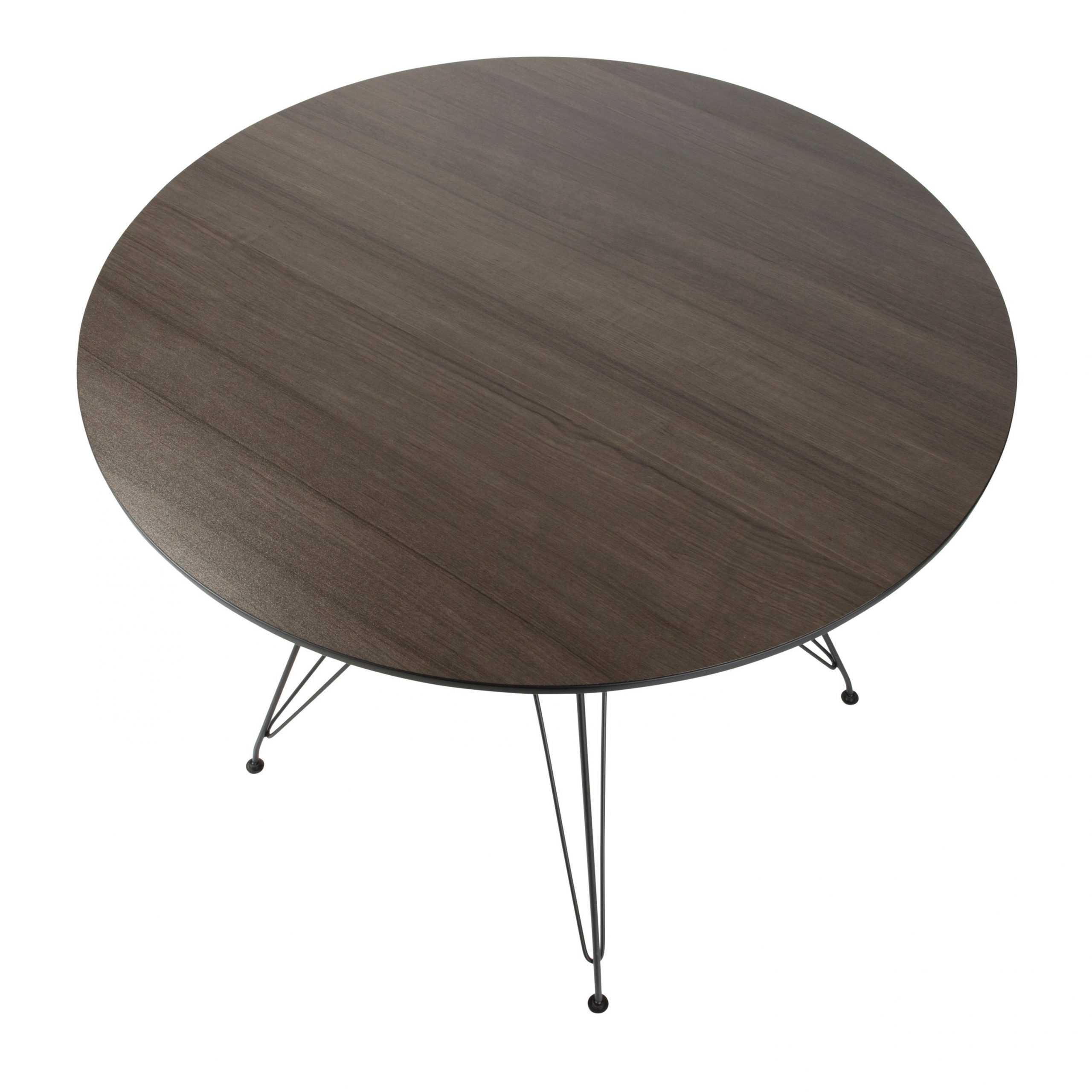 Avery Round Dining Table In Black And Walnut Regarding 2020 Avery Round Dining Tables (View 6 of 25)