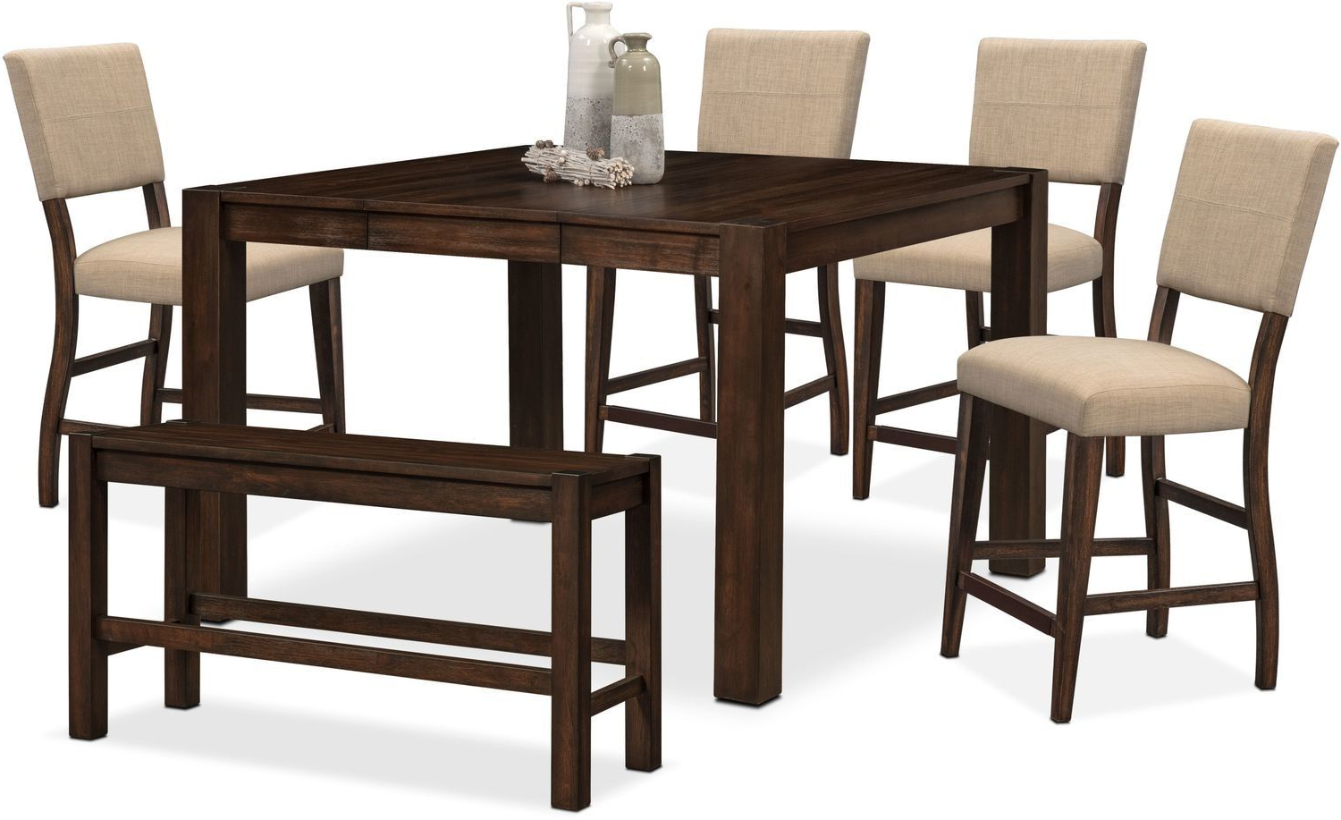 Avondale Counter Height Dining Tables Throughout Most Recently Released Tribeca Counter Height Table, 4 Upholstered Side Chairs And (View 10 of 25)