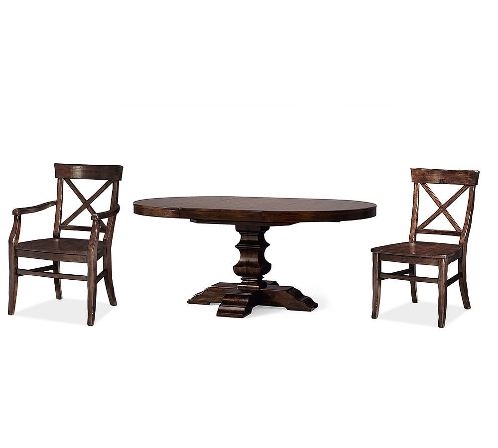Banks Pedestal Table & 4 Aaron Chairs, Alfresco Brown within Preferred Alfresco Brown Banks Pedestal Extending Dining Tables