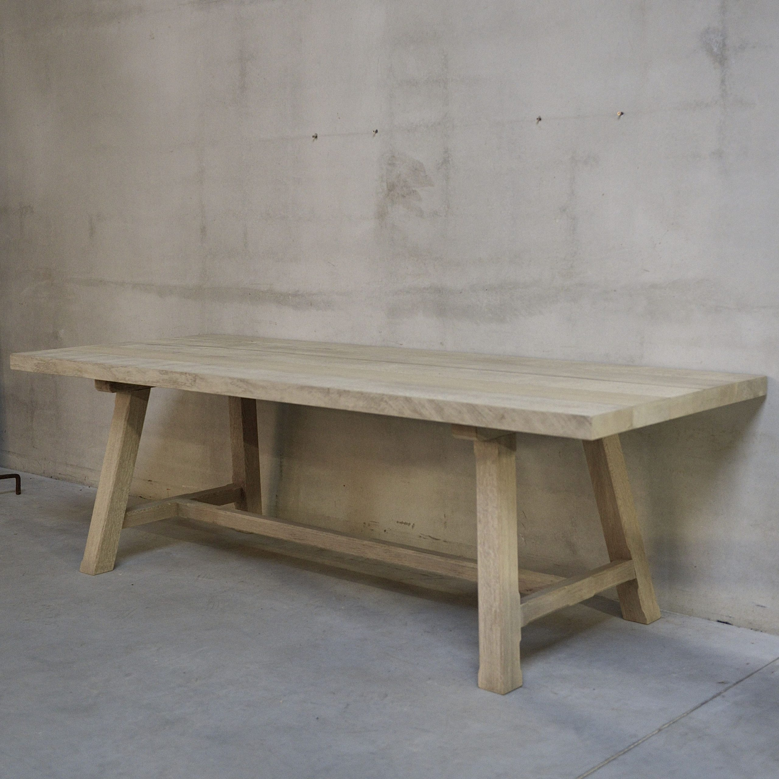 Belgian Bleached Oak Dining Table Or Desk With Angled Legs in Newest Gray Wash Toscana Extending Dining Tables